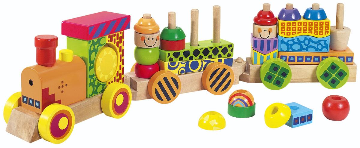 Eichhorn Конструктор Паровозик2236Конструктор Eichhorn Паровозик со звуком и светом - красочный развивающий паровозик, изготовленный из экологически безопасной древесины бука и идеально подходящий для развития как мальчиков, так и девочек. К локомотиву цепляется пара вагончиков, каждый из которых имеет штырьки, на которые можно надевать различные элементы, входящие в комплект. Они отличаются цветом, формой, размером и могут по-разному сочетаться друг с другом, способствуя развитию творческого потенциала и базовых навыков - цветового, тактильного восприятия, координации и мелкой моторики. Округлая форма деталей позволяет им легко ложиться в детские ручки и предотвращает травмирование. Нетоксичные материалы и краска делают игрушку безопасной для детского организма. Световые и звуковые эффекты делают игру еще разнообразнее и привлекательнее для малыша: если нажать на кнопку на локомотиве, у паровозика загорятся фары и раздастся стук колес и гудок. Ваш ребенок будет часами играть с паровозиком, придумывая...