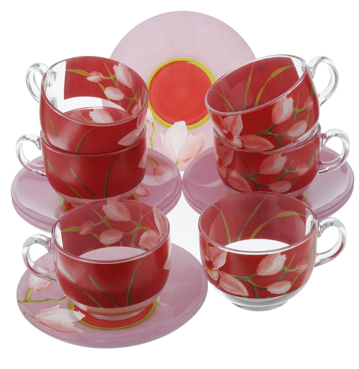 Набор чайный Luminarc Red Orchis, 12 предметовG0670Чайный набор Luminarc Red Orchis состоит из 6 чашек и 6 блюдец. Изделия, выполненные из высококачественного ударопрочного стекла, имеют элегантный дизайн с красивым цветочным рисунком. Посуда отличается прочностью, гигиеничностью и долгим сроком службы, она устойчива к появлению царапин и резким перепадам температур. Такой набор прекрасно подойдет как для повседневного использования, так и для праздников. Чайный набор Luminarc Red Orchis - это не только яркий и полезный подарок для родных и близких, но также великолепное дизайнерское решение для вашей кухни или столовой. Объем чашки: 220 мл. Диаметр чашки (по верхнему краю): 8,2 см. Высота чашки: 6,5 см. Диаметр блюдца (по верхнему краю): 14 см. Высота блюдца: 2 см.