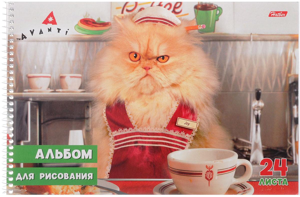 Hatber Альбом для рисования Стоп-кадр Кот на кухне 24 листа24А4Bсп_кот на кухнеАльбом для рисования на боковой спирали Hatber Стоп-кадр непременно порадует маленького художника и вдохновит его на творчество. Альбом изготовлен из белоснежной офсетной бумаги с яркой обложкой из мелованного картона, оформленной изображением пушистого котика за обеденным столом. В альбоме 24 листа. Высокое качество бумаги позволяет рисовать в альбоме карандашами, фломастерами, акварельными и гуашевыми красками.