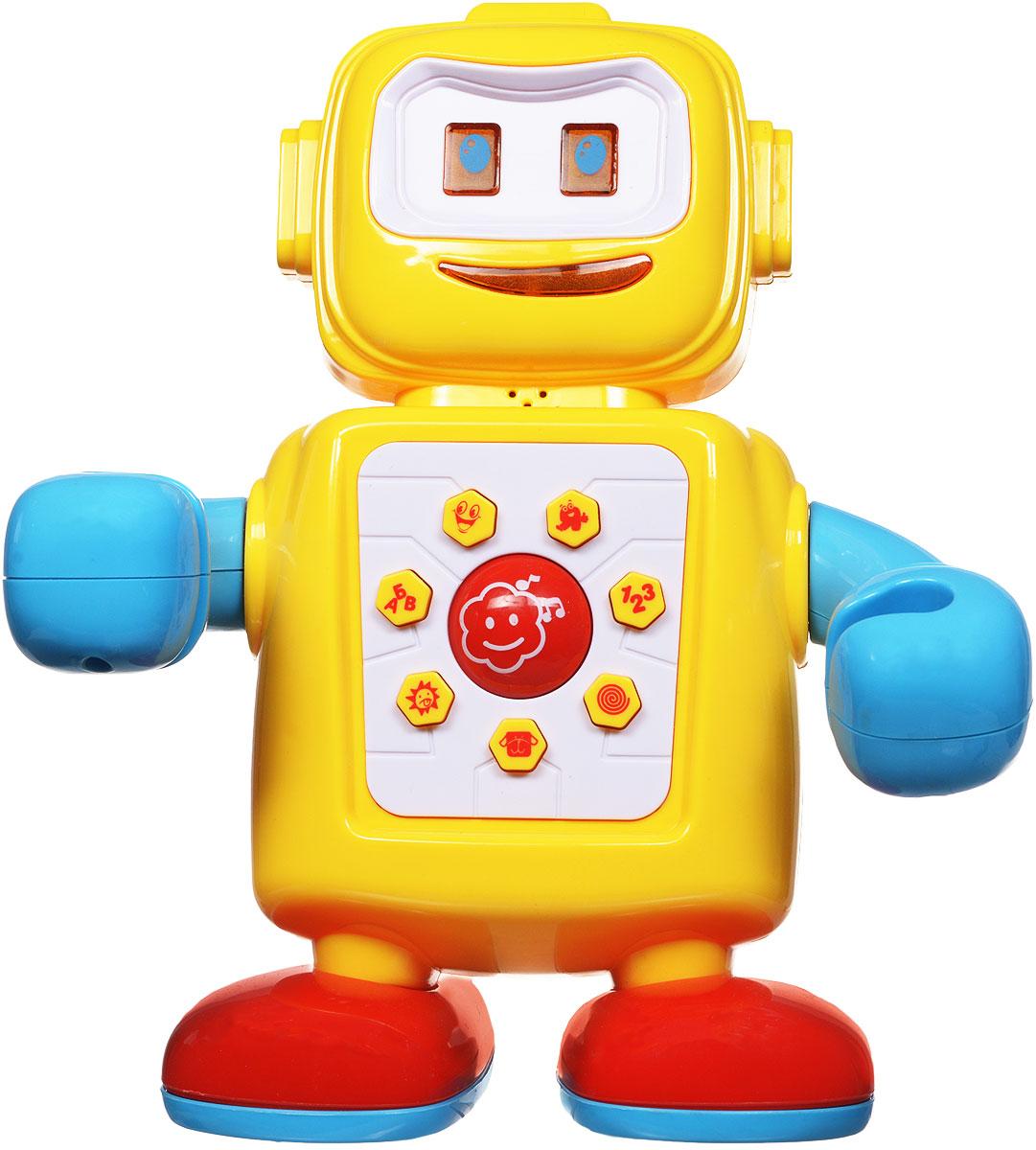 Zhorya Развивающая игрушка Музыкальный роботХ75125Музыкальный робот - отличный собеседник и учитель для самых маленьких. Своей яркой и веселой расцветкой он привлечет внимание детей. Положение ручек у игрушки можно регулировать в нескольких позициях, имитируя движения настоящего робота. Робот имеет русскую озвучку и может научить ребенка веселым фразам, скороговоркам и даже песенкам, достаточно нажать на одну из кнопок на животике! Игрушка также предложит ребенку повторять за ней буквы и цифры, таким образом малыш будет запоминать их на слух. Когда робот говорит, у него светится рот, это создает ощущение настоящего общения с игрушкой! С таким милым пластмассовым другом развитие речи и познание мира будет проходить интересно и продуктивно! Для работы игрушки необходимы 3 батарейки типа АА (не входят в комплект).