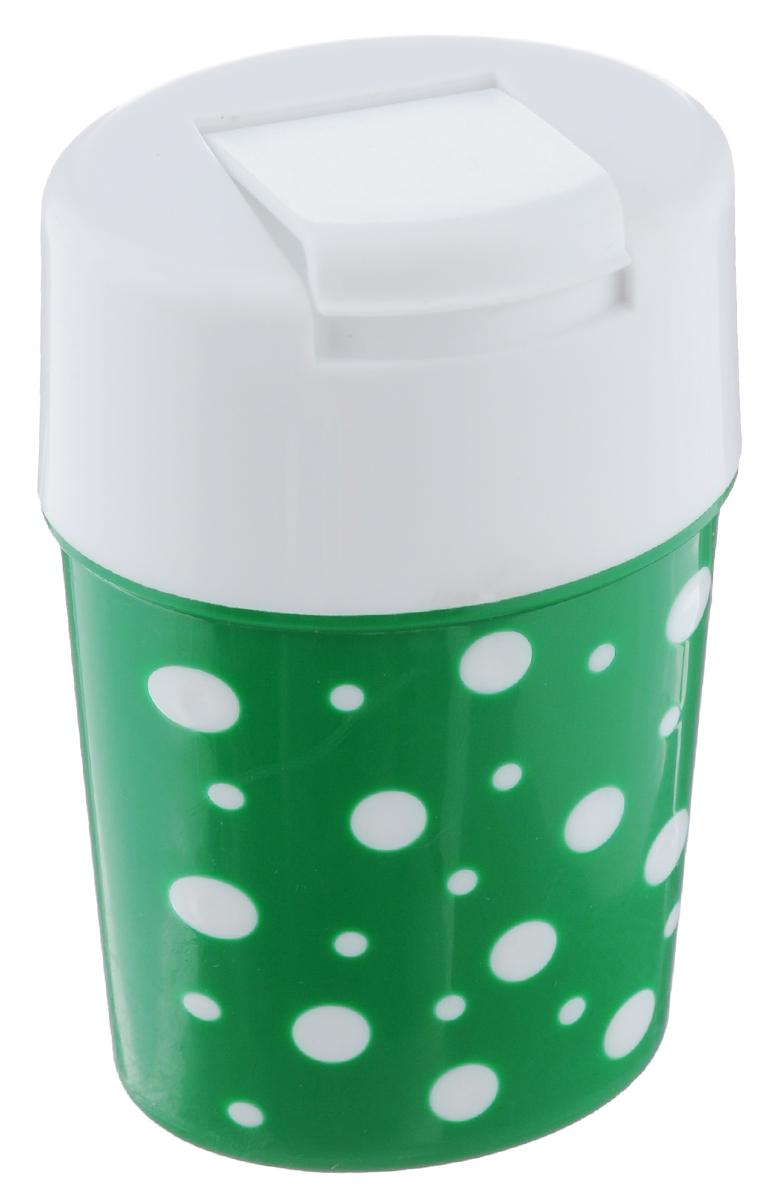 Солонка Альтернатива Горошек, цвет: белый, зеленый, 5,5 х 4,5 х 8 смМ3811Солонка Альтернатива Горошек изготовлена из пластика. Она легка в использовании, стоит только открыть крышку, и вы с легкостью сможете посолить по своему вкусу любое блюдо. Солонка такого дизайна будет отлично смотреться на вашей кухне.
