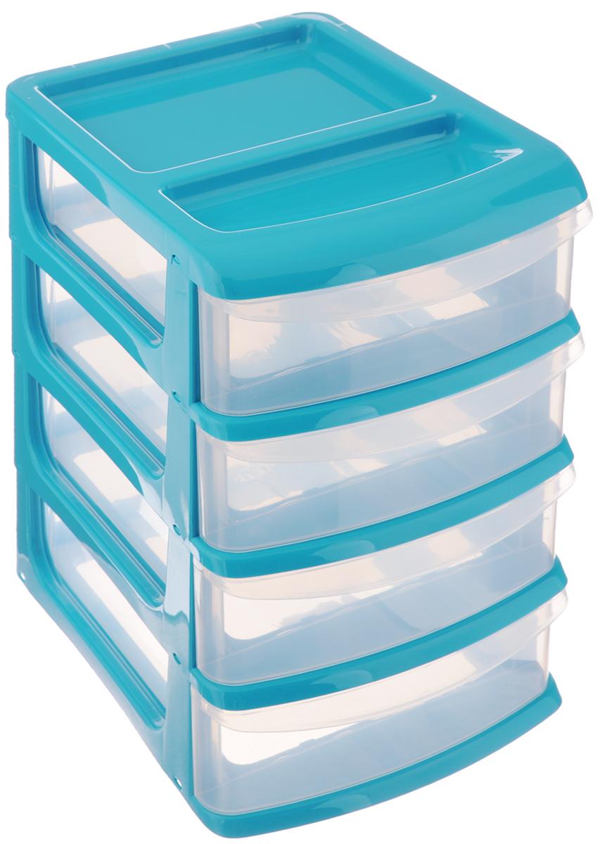 Бокс универсальный Idea, 4 секции, цвет: прозрачный, бирюзовый, 24,5 х 17 х 26 смМ 2766_бирюзовыйУниверсальный бокс Idea выполнен из высококачественного пластика и имеет четыре удобные выдвижные секции. Бокс предназначен для хранения предметов шитья, рукоделия, хобби и всех необходимых мелочей. Изделие позволит компактно хранить вещи, поддерживая порядок и уют в вашем доме.
