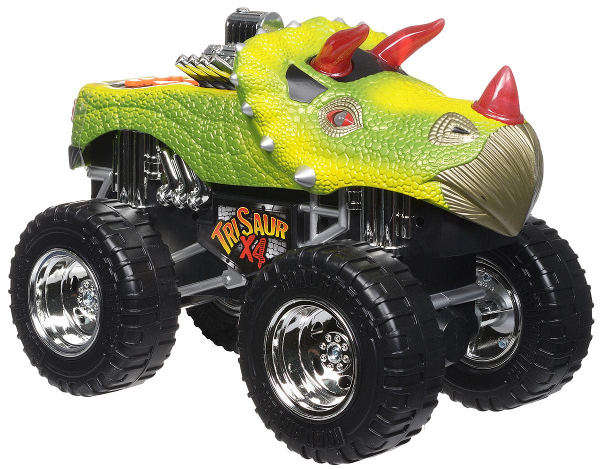 Toystate Машинка TriSaur X433612TS_желтый, зеленыйЯркая машинка Toystate TriSaur X4 со звуковыми и световыми эффектами, несомненно, понравится вашему ребенку и не позволит ему скучать. Игрушка выполнена в виде мощного джипа с кузовом-динозавром и огромными колесами. При нажатии на кнопки, расположенные в кузове, светятся бортовые огни автомобиля, воспроизводятся звуки двигателя, играет заводная музыка, машинка выполняет трюки. Машинка оснащена инерционным механизмом. Ваш ребенок часами будет играть с машинкой, придумывая различные истории и устраивая соревнования. Порадуйте его таким замечательным подарком! Для работы игрушки необходимы 4 батарейки типа АА (товар комплектуется демонстрационными).