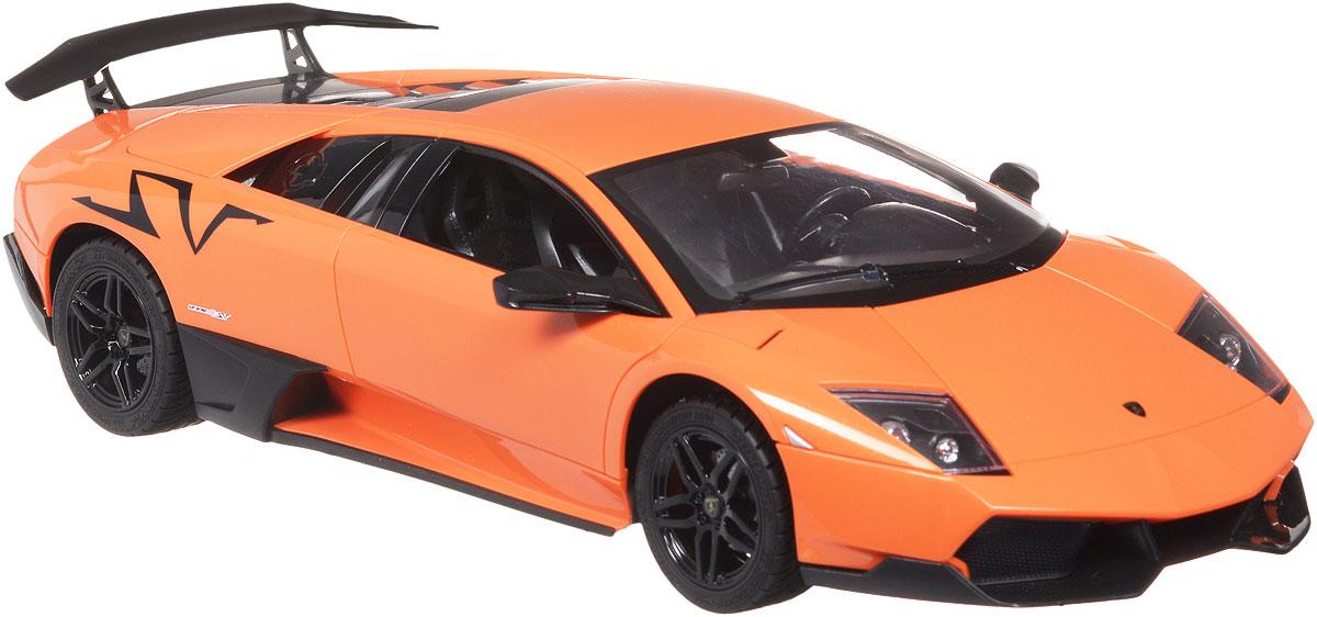 TopGear Радиоуправляемая модель Lamborghini Murcielago LP 670-4 цвет оранжевыйТ56682_оранжевыйВсе мальчишки любят мощные крутые тачки! Особенно если это дорогие машины известной марки, которые, проезжая по улице, обращают на себя восторженные взгляды пешеходов. Радиоуправляемая модель TopGear Lamborghini Murcielago LP 670-4 - это детальная копия существующего автомобиля в масштабе 1:14. Машинка изготовлена из прочного легкого пластика, колеса прорезинены. При движении передние и задние фары машины светятся. При помощи пульта управления автомобиль может перемещаться вперед, дает задний ход, поворачивает влево и вправо, останавливается. Встроенные амортизаторы обеспечивают комфортное движение. В комплект входит машинка, пульт управления, зарядное устройство (время зарядки составляет 4-5 часов), аккумулятор. Автомобиль отличается потрясающей маневренностью и динамикой. Ваш ребенок часами будет играть с моделью, устраивая захватывающие гонки. Машина работает от аккумулятора 500 mAh напряжением 6V (входит в комплект). Пульт управления работает...