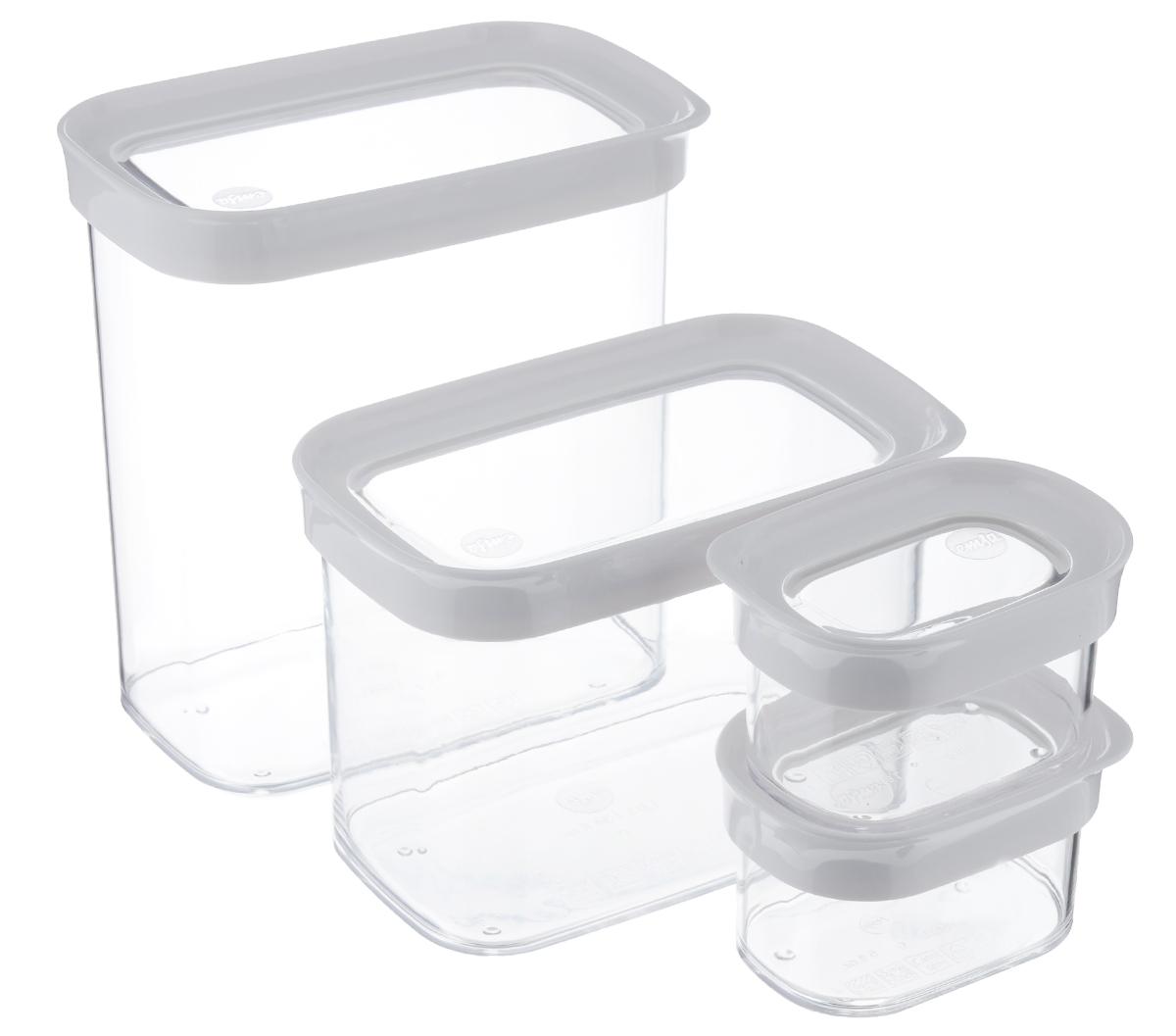 Набор контейнеров для сыпучих продуктов Emsa Optima, 4 шт513564Набор Emsa Optima состоит из четырех контейнеров для сыпучих продуктов, имеющих разный объем. Изделия выполнены из высококачественного пищевого пластика. Стенки прозрачные, что позволяет видеть содержимое, это очень удобно и практично. Специальные крышки плотно закрываются, предотвращая попадание влаги. Контейнеры объемом 180 мл идеальны для хранения сахарной посыпки, приправ или сушеной зелени; контейнер 1 л идеально подходит для риса или овсяных хлопьев; в емкость 1,6 л можно насыпать сахар, муку, кофе или макароны. Такой набор контейнеров - идеальный вариант для поддержания порядка на кухне. Можно мыть в посудомоечной машине. Объем контейнеров: 0,18 л, 0,18 л, 1 л, 1,6 л. Размер контейнеров: 10 см х 7 см х 6 см; 10 см х 7 см х 6 см; 16 см х 10 см х 12 см; 16 см х 10 см х 17 см.