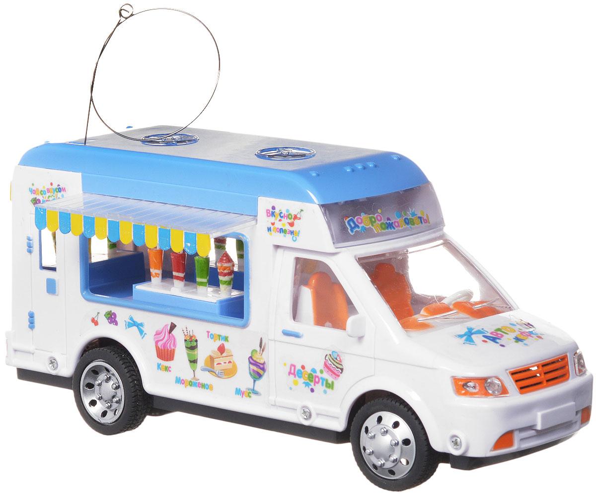 Zhorya Машина на радиоуправлении АвтокафеХ75351Машина на радиоуправлении Zhorya Автокафе станет замечательным подарком для вашего малыша. Игрушка яркая и понравится любому мальчику. Машинка выполнена в виде фургончика автокафе. Машинка может двигаться вперед, назад, поворачивать налево, направо. Движение машинки сопровождается яркой подсветкой и веселой музыкой. Для работы игрушки необходимы 4 батарейки типа АА (не входят в комплект). Для работы пульта управления необходимы 2 батарейки типа АА (не входят в комплект).