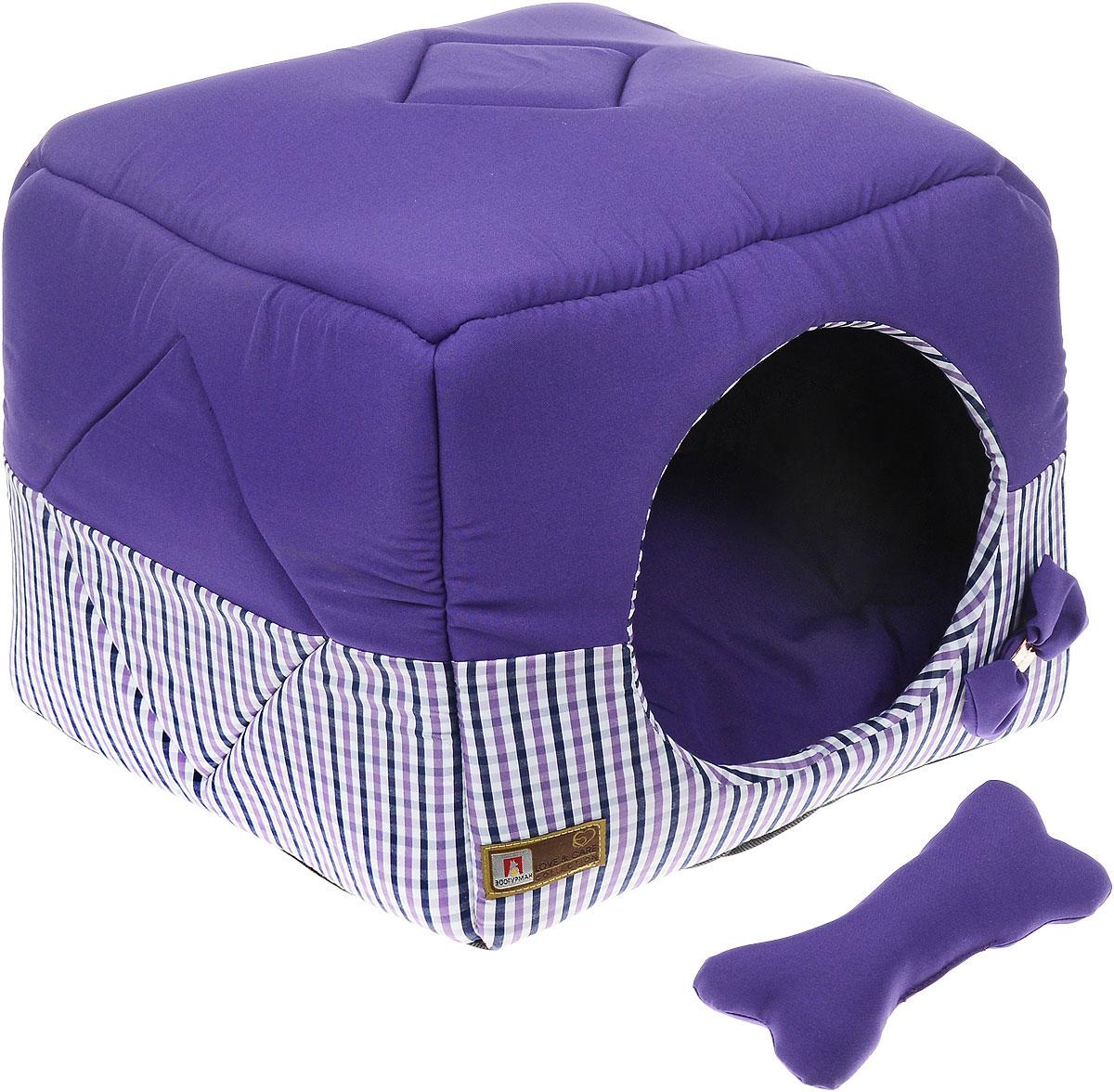 Лежак для собак и кошек Зоогурман Домосед, цвет: фиолетовый, 45 см х 45 см х 45 см1949_фиолетовыйОригинальный и мягкий лежак для кошек и собак Зоогурман Домосед обязательно понравится вашему питомцу. Лежак выполнен из приятного материала. Уникальная конструкция лежака имеет два варианта использования: - лежанка с высокими бортиками и мягкой внутренней подушкой, - закрытый домик с мягкой подушкой внутри. Универсальный лежак-трансформер непременно понравится вашему питомцу, подарит ему ощущение уюта и комфорта. В комплекте со съемной подушкой мягкая игрушка косточка. За изделием легко ухаживать, можно стирать вручную или в стиральной машине при температуре 40°С. Материал: микро волоконная шерстяная ткань. Наполнитель: гипоаллергенное синтетическое волокно. Наполнитель матрасика: шерсть. Размер: 45 см х 45 см х 45 см. Размер лежанки: 45 см х 20 см х 45 см.