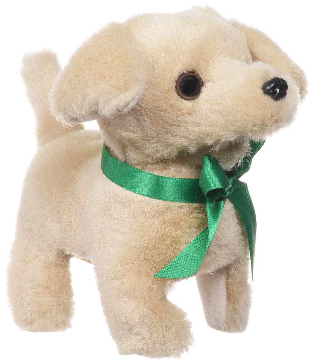 Sonata Style Мягкая игрушка Собачка цвет бежевый зеленый 16 смGT5930Мягкая игрушка Sonata Style Собачка - самый лучший подарок для ребенка! Забавная игрушка выполнена из приятного и очень мягкого материала, безвредного для малыша. Собачка умеет ходить вперед, останавливаться, шевелить хвостиком и лаять. Управляется собачка с помощью поводка, потянув за который, можно включить игрушку. Переключение режимов лая и ходьбы происходит последовательным потягиванием за поводок. Для работы игрушки необходимы 2 батарейки типа АА (товар комплектуется демонстрационными).