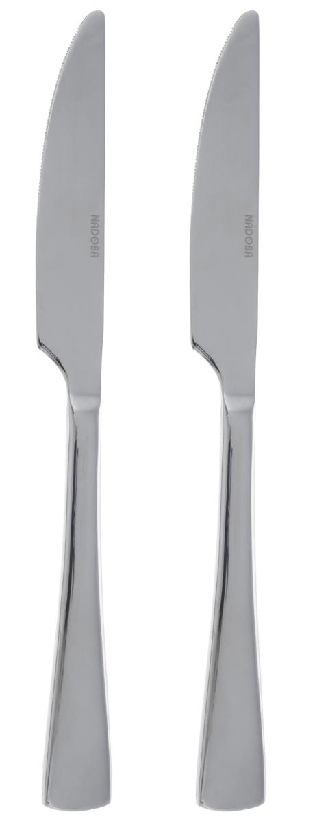 Набор столовых ножей Nadoba Vita, длина 23,7 см, 2 шт711912Набор Nadoba Vita состоит из двух столовых ножей, выполненных из нержавеющей стали с зеркальной полировкой. Изделия устойчивы к деформациям и воздействию любых сред, не меняют вкус блюд и долгое время сохраняют превосходный вид. Строгий, лаконичный, но изысканный дизайн набора сделает его украшением обеденного стола. Длина ножа: 23,7 см. Длина лезвия: 5,7 см.