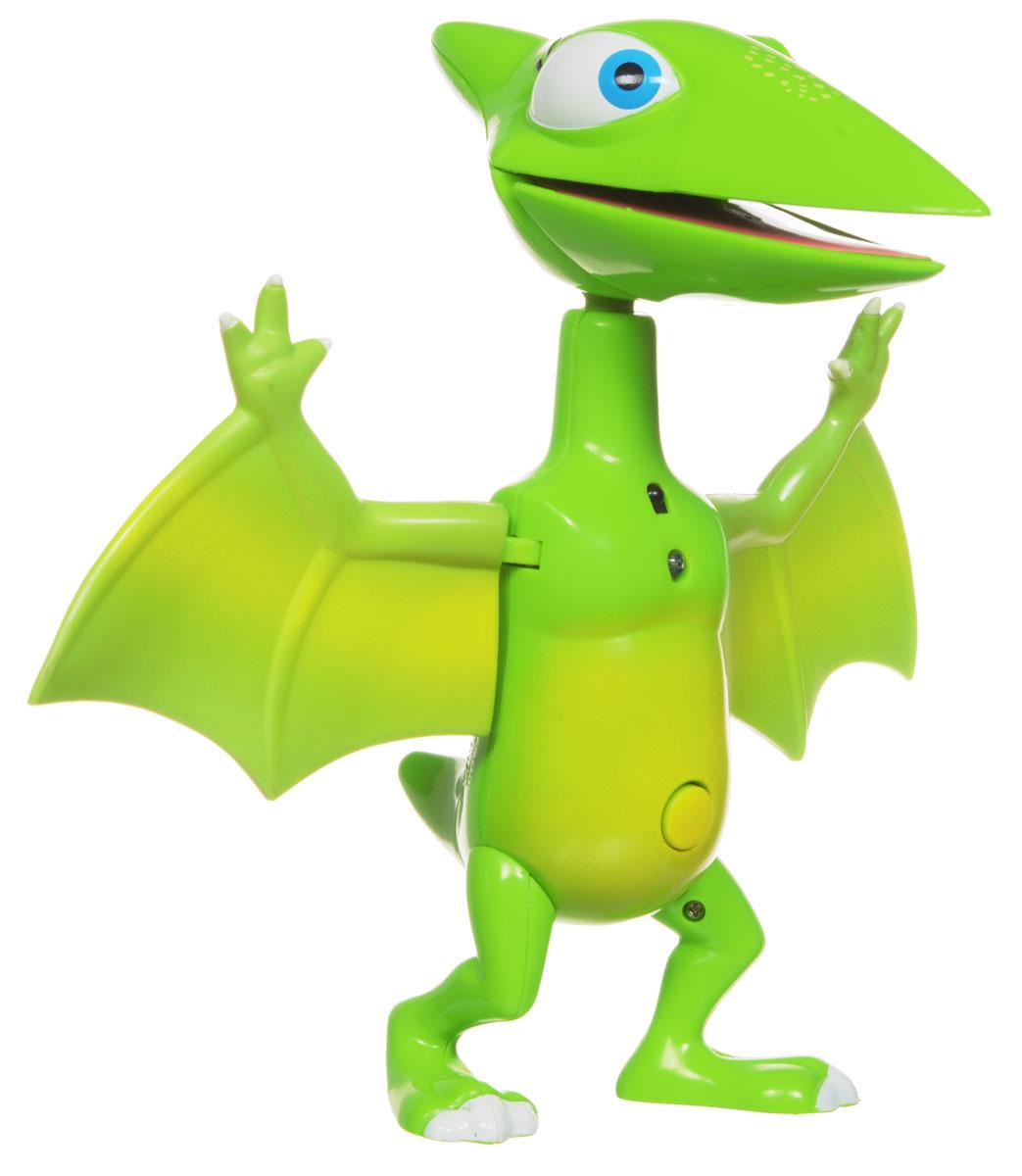 Поезд динозавров Игрушка интерактивная Птеранодон ТайниТ57101Интерактивная игрушка Поезд динозавров Птеранодон Тайни выполнена в виде одного из героев мультсериала Поезд динозавров. Тайни - сестрёнка динозавра Бадди, самая маленькая в семье. Уникальная технология SmartTalk позволяет динозавру распознавать других интерактивных динозавров и взаимодействовать с ними. Тайни рассказывает о себе и разговаривает со своими друзьями. Для воспроизведения каждой фразы нужно нажимать кнопку на животе Тайни. Кроме этого, интерактивный динозавр Тайни может хлопать крыльями, которые издают реалистичный звук, если помахать динозавром в воздухе, как будто он летит. Тайни говорит У меня есть острый клюв!  и кричит, как птеранодон, если дотронуться до ее пасти. Вы услышите звук топота, если будете топать динозавриком по твердой поверхности. У Тайни полностью подвижные части тела: голова, крылья, ножки. Высота игрушки - 17 см. Для работы игрушки необходимы 2 батарейки типа ААА (товар комплектуется демонстрационными).
