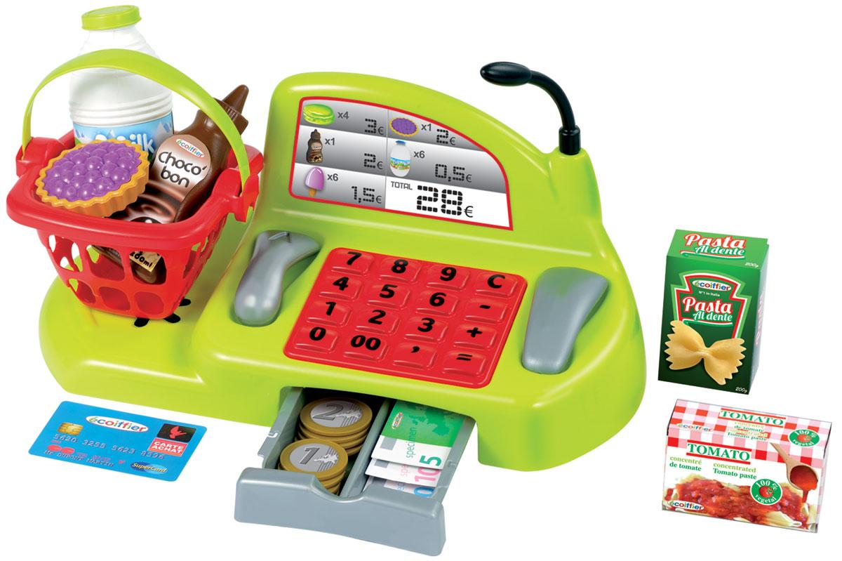 Ecoiffier Игровой набор Мини-магазин1230С игровым набором Ecoiffier Мини-магазин ваш ребенок попробует себя в роли продавца. Столкнется с деньгами в кассе, вкусными продуктами и разговорами по телефону. Все элементы выполнены из прочного и безопасного материала. Набор включает в себя: механический кассовый аппарат с денежным ящиком, заполненный банкнотами и монетами, сканер штрих-кода, телефон, клавиатуру, микрофон, корзины и другие аксессуары. Касса оснащена панелью с цифрами и арифметическими знаками (кнопки не нажимаются). По бокам кассы располагаются трубка и считыватель кода. Игра с мини-магазином развивает воображение, внимание, память, мелкую моторику, координацию движений. Ребенок будет играть с этим набор с огромным интересом и увлечением!