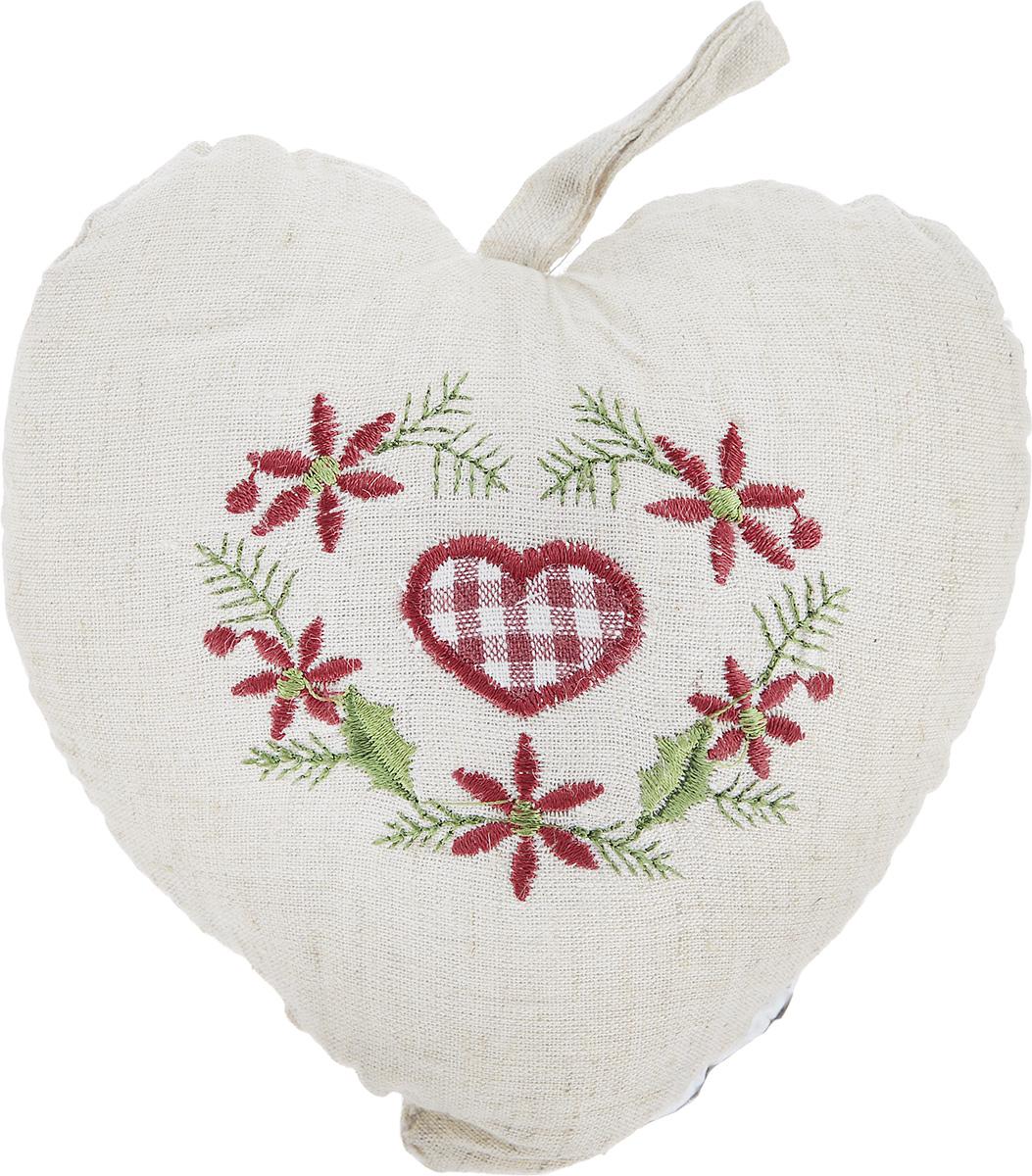 Подушка декоративная Schaefer Сердце, 15 х 15 см07314-514Подушка Schaefer Сердце станет отличным украшением интерьера. Изделие выполнено в форме сердца из хлопка с добавлением льна и оснащено петелькой для подвешивания. Лицевая сторона подушки декорирована вышивкой в виде клетчатого сердечка и цветочного орнамента. Внутри - мягкий наполнитель. Подушка Schaefer Сердце - это не только стильный предмет декора, но и хороший подарок вашим друзьям и близким, который подарит только положительные эмоции.