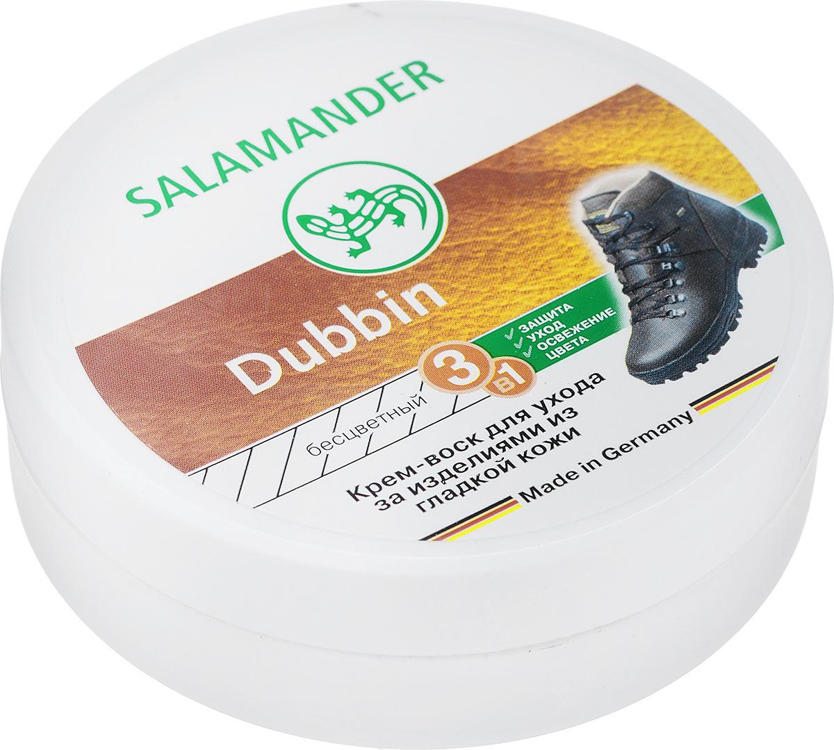 Крем-воск Salamander Dubbin, для гладкой кожи, цвет: бесцветный, 100 мл665677Крем-воск Salamander Dubbin пропитывает и ухаживает за рабочей, спортивной и походной обувью из гладкой кожи. Способ применения: Равномерно нанести средство на очищенную и сухую поверхность. Дать высохнуть и отполировать. Объем: 100 мл.