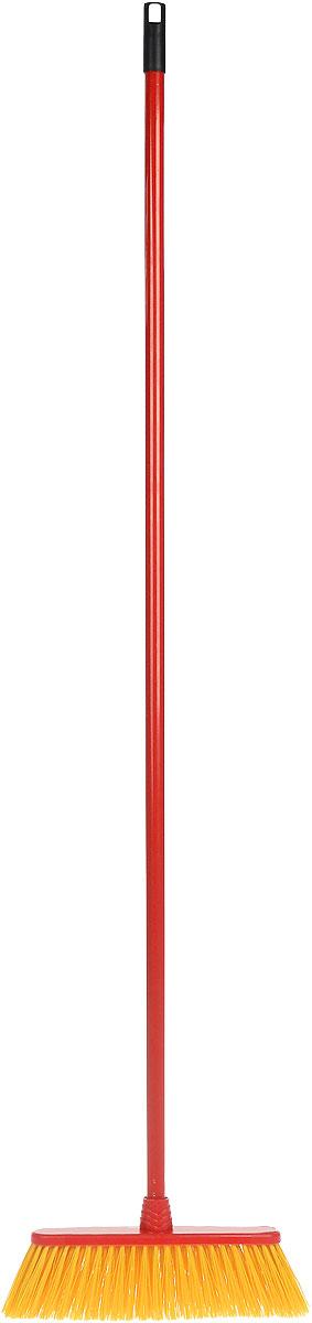 Щетка для улицы Vileda Outdoor, жетская, с ручкой, цвет: красный, желтый, длина 140 см32110688Щетка для улицы Vileda Outdoor изготовлена из полипропилена и полиэтилентерефталата (ПЭТ) и предназначена для уборки мусора на улице. Черенок изготовлен из металла с петлей, которая позволит повесить его на крючок и оснащен универсальной резьбой, подходящей всем съемным швабрам-насадкам и щеткам. Ворс легко промывается водой. Устойчив к воздействиям внешней среды (к износу и изгибу). Такая щетка позволит качественно и быстро собрать мусор. Размер щетки: 33 см х 7 см. Длина ворса: 8 см. Длина черенка: 127 см. Общая длина щетки: 140 см.