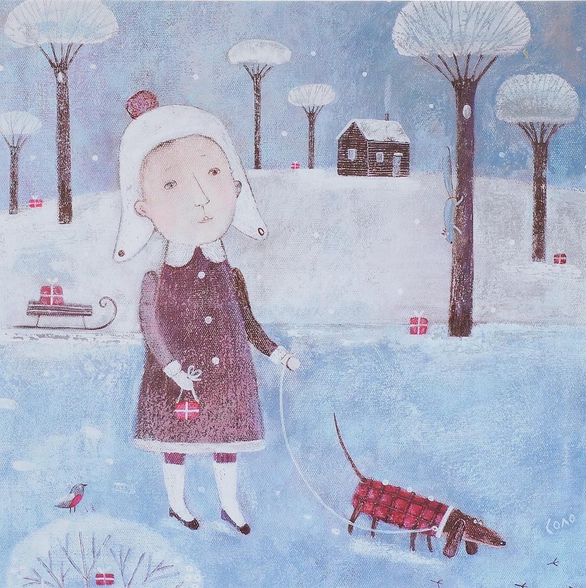 Открытка Рождественские каникулы. Автор Соловьева СветланаSvS10-017Оригинальная дизайнерская открытка «Рождественские каникулы» выполнена из плотного матового картона. На лицевой стороне расположена репродукция картины художницы Светланы Соловьевой с изображением девушки, несущей подарки вместе со своей одетой в клетчатое пальто таксой. Такая открытка станет великолепным дополнением к подарку или оригинальным почтовым посланием, которое, несомненно, удивит получателя своим дизайном и подарит приятные воспоминания.