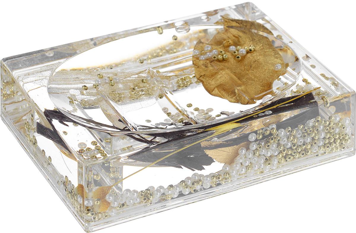 Мыльница Vanstore Gold Leaf, цвет: золотистый, 14 см х 9,5 см х 3,5 см887-88_золотистыйОригинальная мыльница Vanstore Gold Leaf, изготовленная из прозрачного пластика, отлично подойдет для вашей ванной комнаты. Внутри мыльницы гелиевый наполнитель с золотистыми и белыми бусинами, листочками и веточками. Такая мыльница создаст особую атмосферу уюта и максимального комфорта в ванной. Размер мыльницы: 14 см х 9,5 см х 3,5