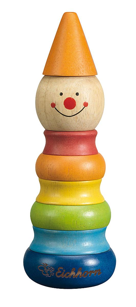 Eichhorn Пирамидка Клоун4911Яркая пирамидка Клоун понравится вашему малышу и надолго займет его внимание. Игрушка состоит из основания, на которое нанизываются цветные колечки разного диаметра и вершина в виде головы клоуна и колпака. Все элементы выполнены из натурального дерева. Игры с пирамидкой Клоун помогут ребенку в развитии мелкой моторики рук, координации движений, познакомят с понятиями формы, цвета и размера предмета.