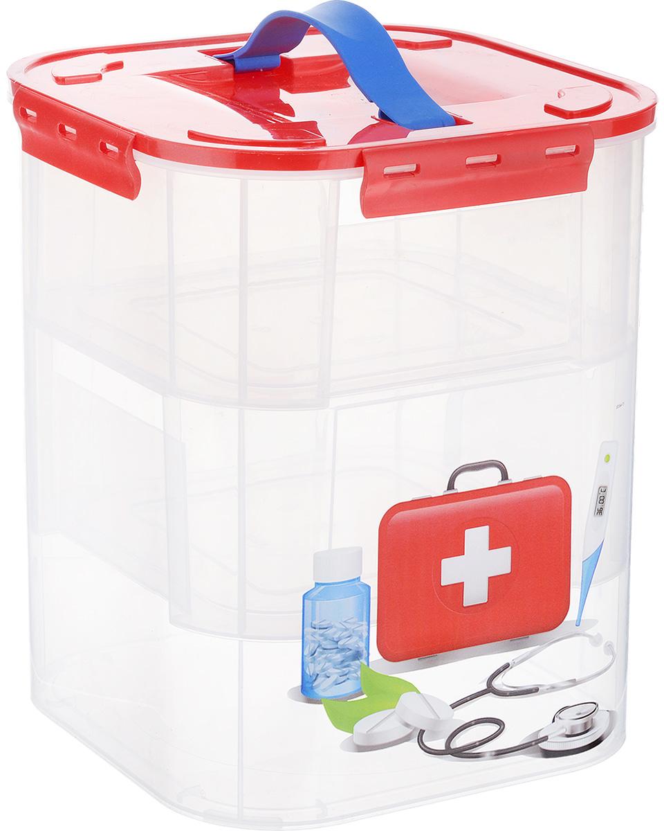 Контейнер для хранения Idea Аптечка, с вкладышами, 10 лМ 2831_аптечкаКонтейнер Idea Аптечка выполнен из высококачественного полипропилена, предназначен для хранения различных вещей, лекарств и мелких аксессуаров. Контейнер снабжен плотно закрывающейся крышкой с четырьмя фиксаторами. Изделие оформлено ярким рисунком и оснащено резиновой ручкой на крышке для удобной переноски. Внутри контейнера - два съемных вкладыша, оснащенные ручками для переноски. Вы можете хранить вещи и аксессуары как во вкладыше, так и в самом контейнере. Размер контейнера (без учета крышки): 21 см х 21 см х 26,5 см. Размер вкладыша: 20,5 см х 20,5 см х 9,5 см.