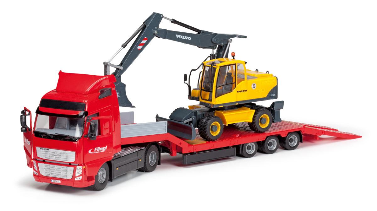 Dickie Toys Трейлер-погрузчик с экскаватором3415480Трейлер-погрузчик с экскаватором Dickie Toys непременно понравится вашему ребенку. Игрушка выполнена из прочного пластика в виде трейлера с длинным прицепом, на котором стоит трактор. Кабина водителя наклоняется вперед, задняя стенка прицепа откидывается, превращаясь в трап. У машины и трактора открываются двери. Колеса игрушек свободно вращаются и прорезинены , что обеспечивает хорошее сцепление с любой поверхностью. Кабина трактора вместе с ковшом может поворачиваться на 360 градусов, грейдер поднимается и опускается. С такой игрушкой ваш малыш будет часами занят увлекательной игрой. Порадуйте его таким замечательным подарком!