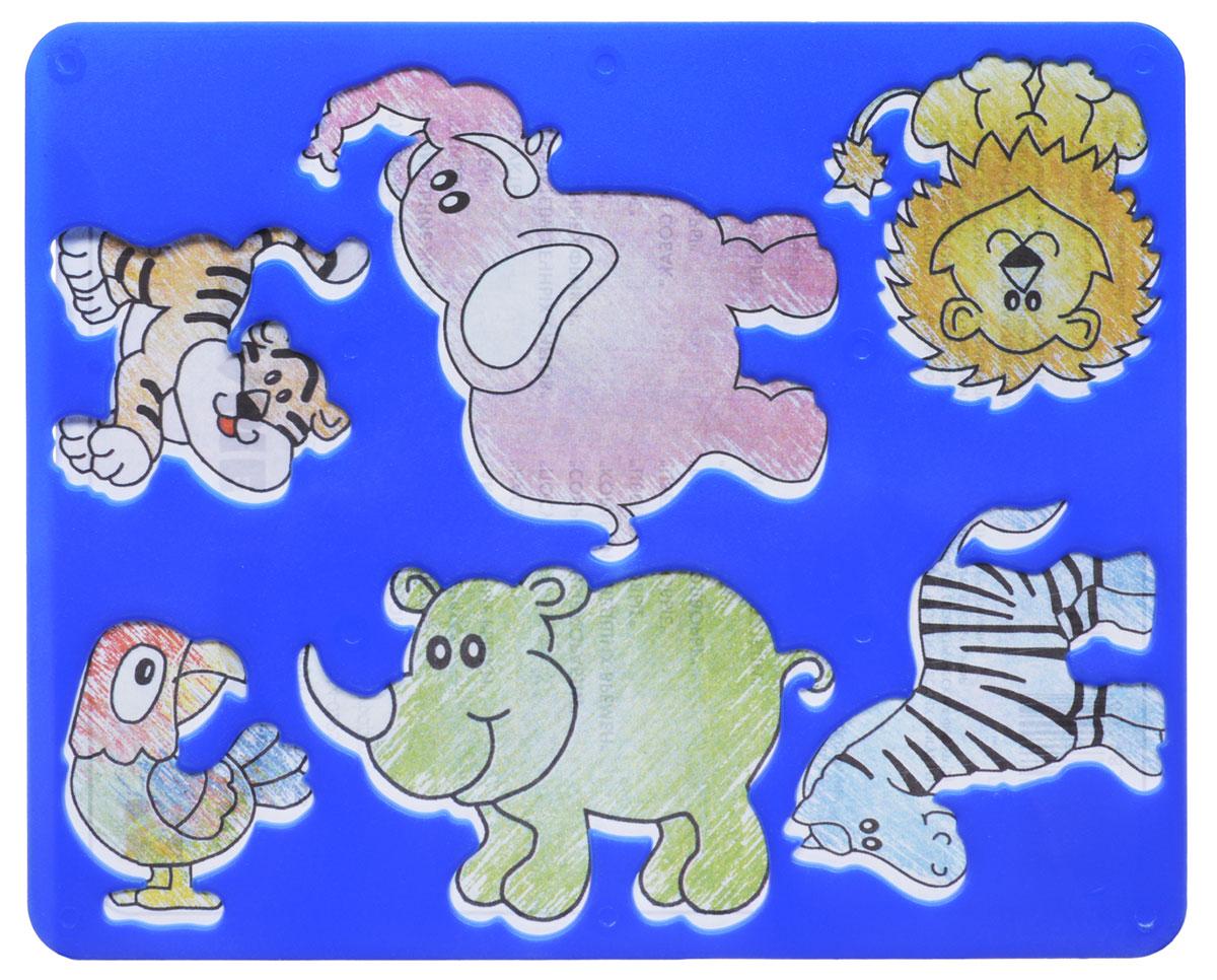 Луч Трафарет прорезной Веселые зверята цвет синийC04987_синийТрафарет Луч Веселые зверята, выполненный из безопасного пластика, предназначен для детского творчества. По трафарету Веселые зверята маленький художник сможет нарисовать отдельных животных или целый веселый зоопарк. Для этого необходимо положить трафарет на лист бумаги, обвести фигуру по контуру и раскрасить по своему вкусу или глядя на цветную картинку-образец. Трафареты предназначены для развития у детей мелкой моторики и зрительно-двигательной координации, навыков художественной композиции и зрительного восприятия.
