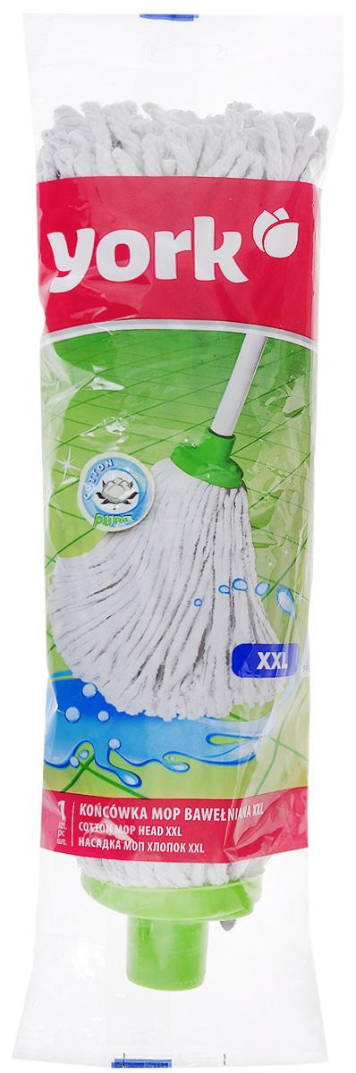 Насадка для швабры York XXL, сменная, цвет: белый, салатовый. 73007300Насадка сменная для швабры York XXL, выполненная из пластика, хлопка, вискозы и полиэстера, подходит для мытья всех видов напольных поверхностей. Изделие имеет свойство впитывать большое количество влаги. Не оставляет ворсинок и разводов. Форма насадки позволяет справиться с труднодоступными загрязнениями. Длина насадки: 34 см. Диаметр отверстия для ручки: 2,1 см.
