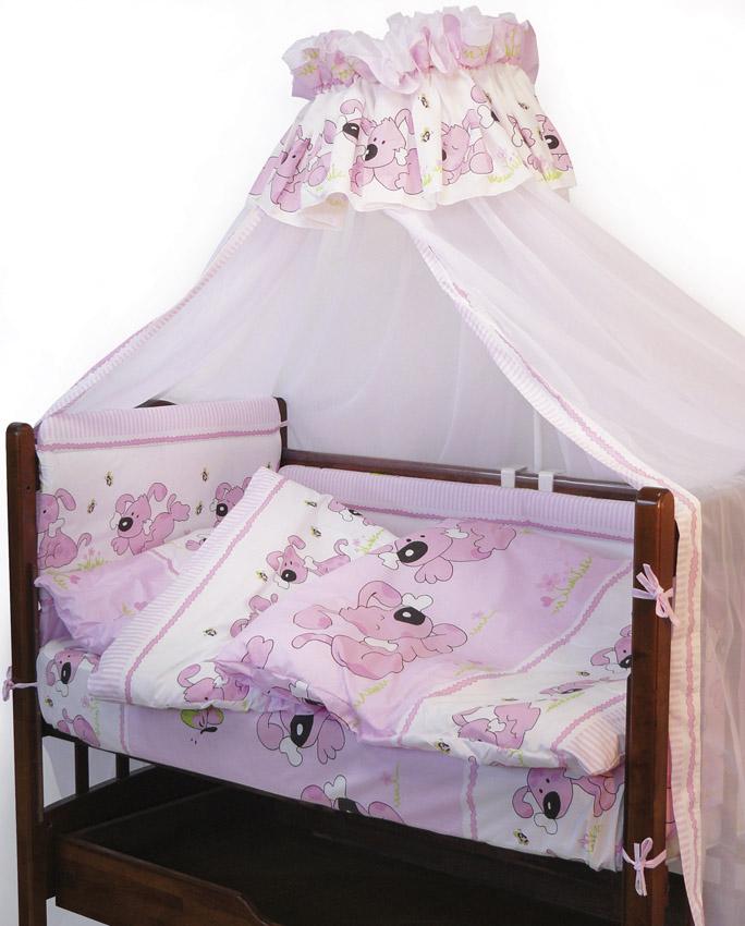 Топотушки Комплект детского постельного белья Дружок цвет розовый 7 предметов4630008871003Комплект постельного белья из 7 предметов включает все необходимые элементы для детской кроватки.Комплект создает для Вашего ребенка уют, комфорт и безопасную среду с рождения; современный дизайн и цветовые сочетания помогают ребенку адаптироваться в новом для него мире. Комплекты «Топотушки» хорошо вписываются в интерьер как детской комнаты, так и спальни родителей.Как и все изделия «Топотушки» данный комплект отражает самые последние технологии, является безопасным для малыша и экологичным. Российское происхождение комплекта гарантирует стабильно высокое качество, соответствие актуальным пожеланиям потребителей, конкурентоспособную цену. Балдахин 3м (вуаль); охранный бампер 360х50см. (из 4-х частей, наполнитель – холлофайбер); подушка 40х60см. (наполнитель – холлофайбер); одеяло 140х110см. (наполнитель – холлофайбер); наволочка 40х60см; пододеяльник 147х112см; простынь 140х95см.
