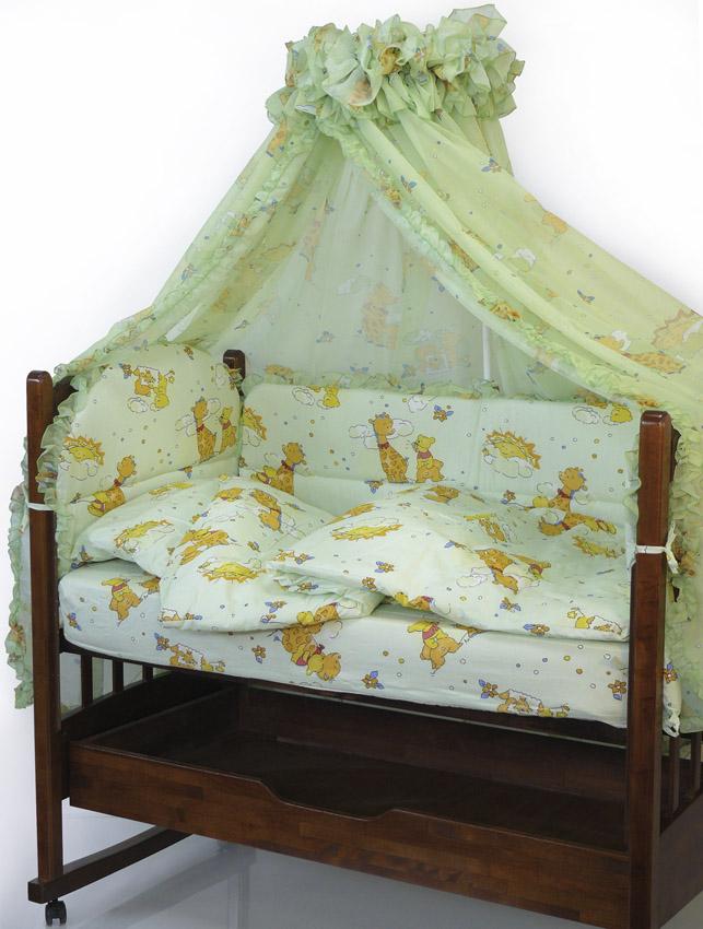 Топотушки Комплект детского постельного белья Жираф Вилли цвет зеленый 7 предметов4630008872475Комплект постельного белья из 7 предметов включает все необходимые элементы для детской кроватки. Комплект создает для Вашего ребенка уют, комфорт и безопасную среду с рождения; современный дизайн и цветовые сочетания помогают ребенку адаптироваться в новом для него мире. Комплекты «Топотушки» хорошо вписываются в интерьер как детской комнаты, так и спальни родителей. Как и все изделия «Топотушки» данный комплект отражает самые последние технологии, является безопасным для малыша и экологичным. Российское происхождение комплекта гарантирует стабильно высокое качество, соответствие актуальным пожеланиям потребителей, конкурентоспособную цену. Балдахин 4,5м (вуаль с рисунком); охранный бампер 360х50см. (из 4-х частей, наполнитель – холлофайбер); подушка 40х60см. (наполнитель – холлофайбер); одеяло 140х110см. (наполнитель – холлофайбер); наволочка 40х60см; пододеяльник 147х112см; простынь на резинке 120х60см