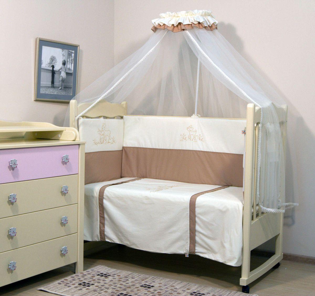 Топотушки Комплект детского постельного белья Бамбино цвет бежевый 7 предметов4630008873687Комплект постельного белья из 7 предметов включает все необходимые элементы для детской кроватки. Комплект создает для Вашего ребенка уют, комфорт и безопасную среду с рождения; современный дизайн и цветовые сочетания помогают ребенку адаптироваться в новом для него мире. Комплекты «Топотушки» хорошо вписываются в интерьер как детской комнаты, так и спальни родителей. Как и все изделия «Топотушки» данный комплект отражает самые последние технологии, является безопасным для малыша и экологичным. Российское происхождение комплекта гарантирует стабильно высокое качество, соответствие актуальным пожеланиям потребителей, конкурентоспособную цену. Балдахин 5м (сетка); охранный бампер 360х50см. (из 4-х частей, наполнитель – холлофайбер); подушка 40х60см. (наполнитель – холлофайбер); одеяло 140х110см. (наполнитель – холлофайбер); наволочка 40х60см; пододеяльник 147х112см; простынь на резинке 120х60см