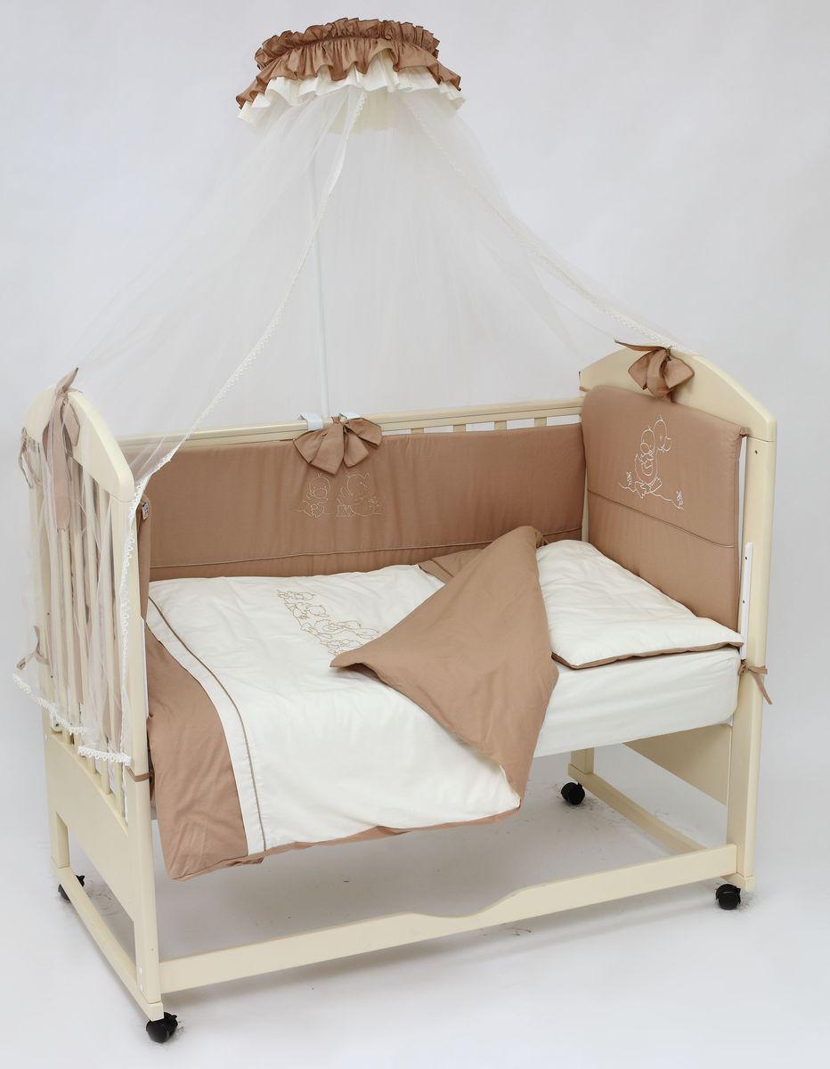Топотушки Комплект детского постельного белья Капучино цвет коричневый бежевый 8 предметов4630008873793Комплект постельного белья из 8 предметов включает все необходимые элементы для детской кроватки. Комплект создает для Вашего ребенка уют, комфорт и безопасную среду с рождения; современный дизайн и цветовые сочетания помогают ребенку адаптироваться в новом для него мире. Комплекты «Топотушки» хорошо вписываются в интерьер как детской комнаты, так и спальни родителей. Как и все изделия «Топотушки» данный комплект отражает самые последние технологии, является безопасным для малыша и экологичным. Российское происхождение комплекта гарантирует стабильно высокое качество, соответствие актуальным пожеланиям потребителей, конкурентоспособную цену. Балдахин 4,5м (сетка); охранный бампер 360х40см. (из 4-х частей, наполнитель – холлофайбер); подушка 40х60см. (наполнитель – холлофайбер); одеяло 140х110см. (наполнитель – холлофайбер); наволочка 40х60см; пододеяльник 147х112см; простынь на резинке 120х60см. (цвет – молочный); простынь на резинке 120х60см. (цвет – коричневый)
