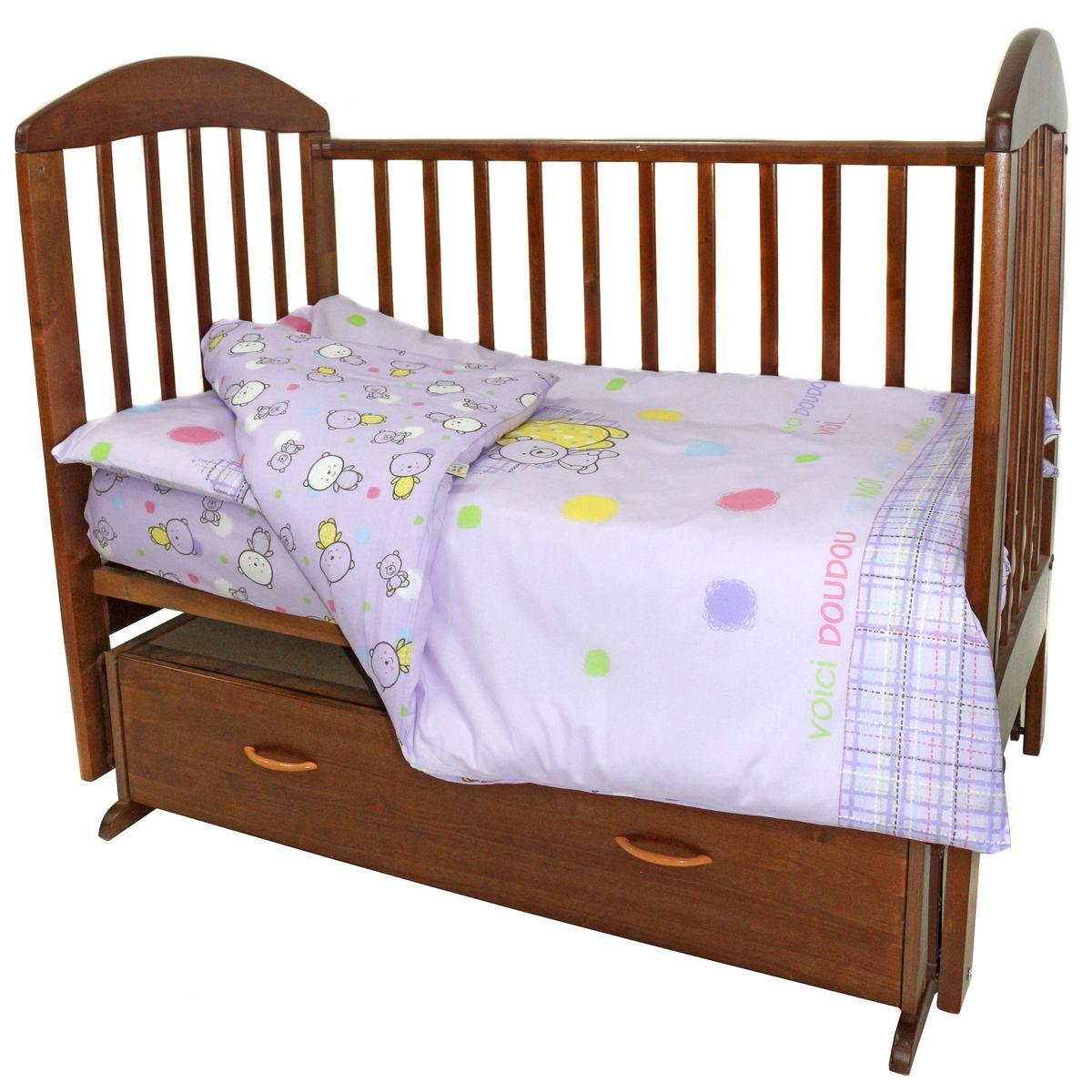 Топотушки Комплект детского постельного белья Мой Медвежонок цвет сиреневый 3 предмета