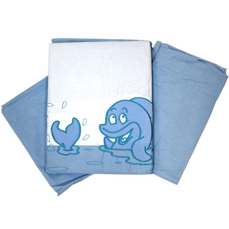 Топотушки Комплект детского постельного белья На волне цвет голубой 3 предмета