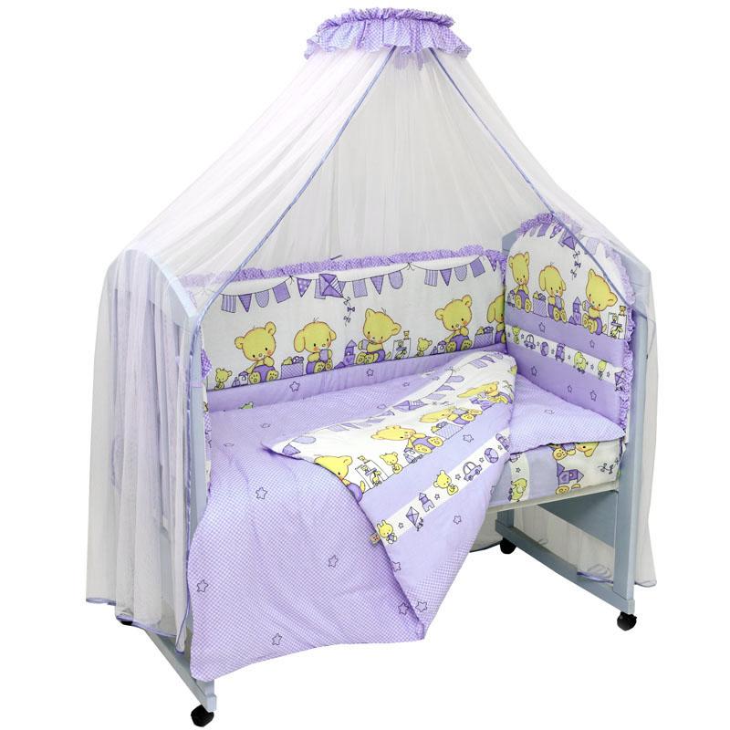 Топотушки Комплект детского постельного белья Звездочка цвет фиолетовый 7 предметов725М/6_фиолетовыйКомплект постельного белья из 7 предметов включает все необходимые элементы для детской кроватки.Комплект создает для Вашего ребенка уют, комфорт и безопасную среду с рождения; современный дизайн и цветовые сочетания помогают ребенку адаптироваться в новом для него мире. Комплекты «Топотушки» хорошо вписываются в интерьер как детской комнаты, так и спальни родителей.Как и все изделия «Топотушки» данный комплект отражает самые последние технологии, является безопасным для малыша и экологичным. Российское происхождение комплекта гарантирует стабильно высокое качество, соответствие актуальным пожеланиям потребителей, конкурентоспособную цену. Балдахин 5м (сетка); охранный бампер 360х50см. (из 4-х частей, наполнитель – холлофайбер); подушка 40х60см. (наполнитель – холлофайбер); одеяло 140х110см. (наполнитель – холлофайбер); наволочка 40х60см; пододеяльник 147х112см; простынь на резинке 120х60см