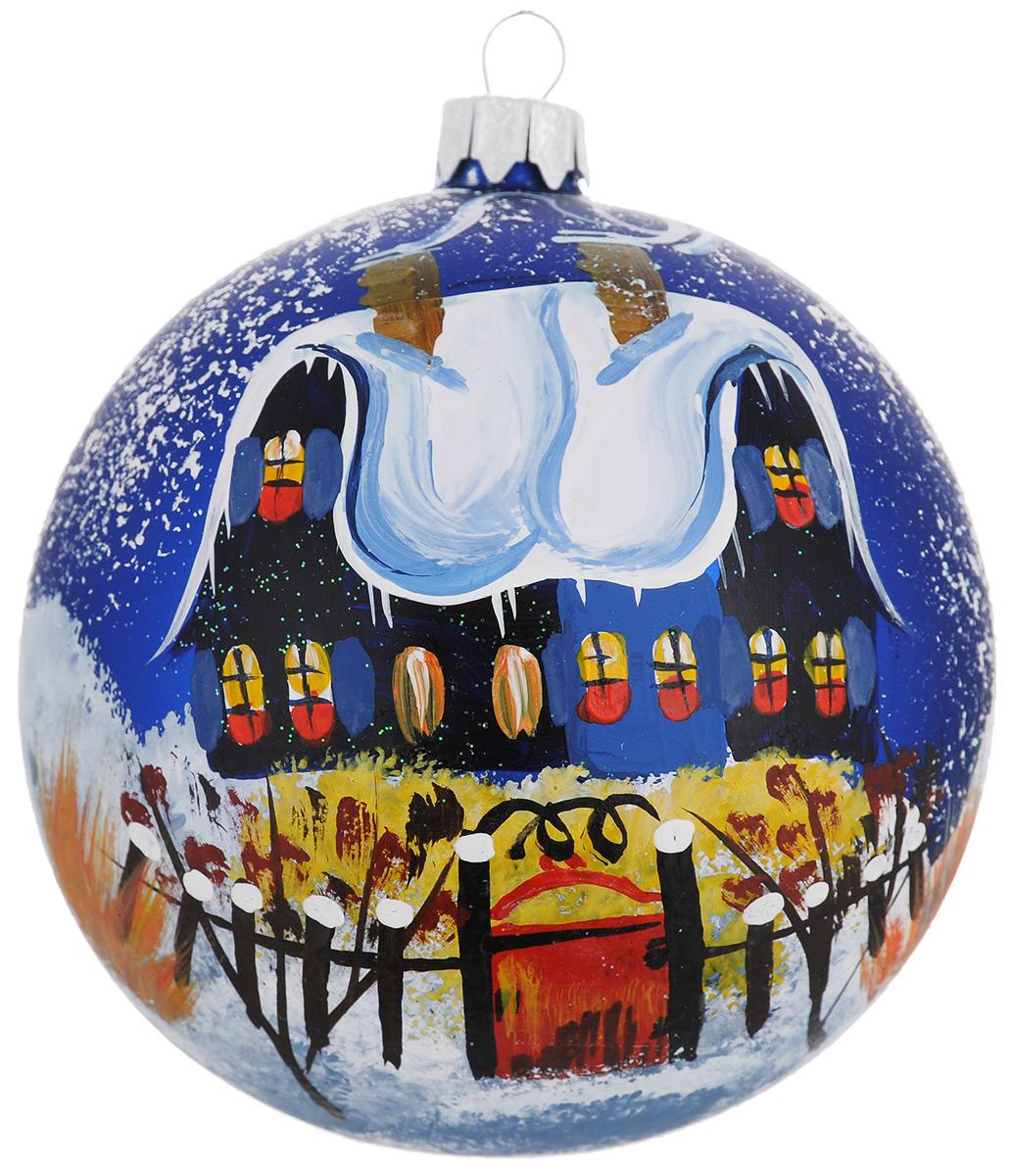 Новогоднее подвесное украшение Синий дом красная калитка, диаметр 10 см. Ручная росписьH-100-0001-S-Синий дом красная калиткаНовогоднее украшение Синий дом красная калитка отлично подойдет для украшения вашего дома и новогодней ели. Игрушка выполнена из тонкого стекла в виде шара и декорирована изображением заснеженного коттеджа. Украшение оснащено специальной металлической петелькой, в которую можно продеть нитку или ленту для подвешивания. Елочная игрушка - символ Нового года. Она несет в себе волшебство и красоту праздника. Создайте в своем доме атмосферу веселья и радости, украшая всей семьей новогоднюю елку нарядными игрушками, которые будут из года в год накапливать теплоту воспоминаний.