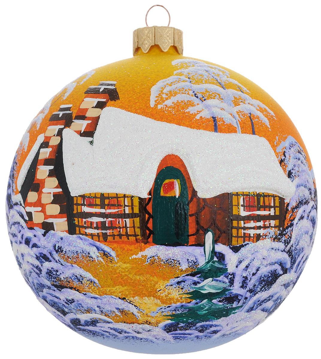 Новогоднее подвесное украшение Паланга янтарный закат, диаметр 10 см. Ручная росписьH-100-0001-S-Паланга янтарный закатНовогоднее украшение Паланга янтарный закат отлично подойдет для украшения вашего дома и новогодней ели. Игрушка выполнена из тонкого стекла в виде шара и декорирована изображением заснеженного домика в свете заходящего солнца. Украшение оснащено специальной металлической петелькой, в которую можно продеть нитку или ленту для подвешивания. Елочная игрушка - символ Нового года. Она несет в себе волшебство и красоту праздника. Создайте в своем доме атмосферу веселья и радости, украшая всей семьей новогоднюю елку нарядными игрушками, которые будут из года в год накапливать теплоту воспоминаний.