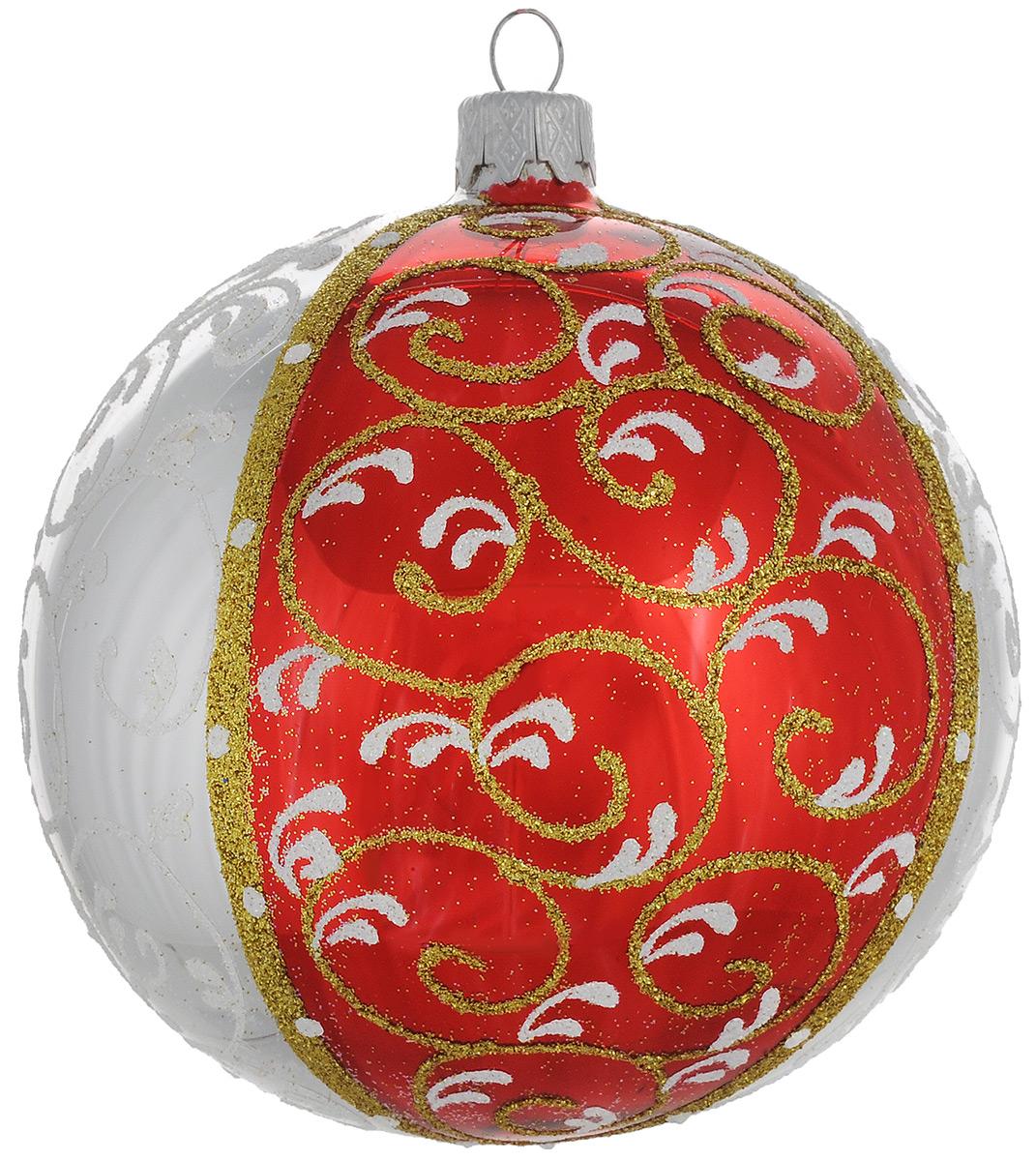 """Новогоднее подвесное украшение """"Четыре доли геометрия"""", цвет: красный, диаметр 10 см. Ручная роспись Фабрика елочных игрушек им. Санта"""