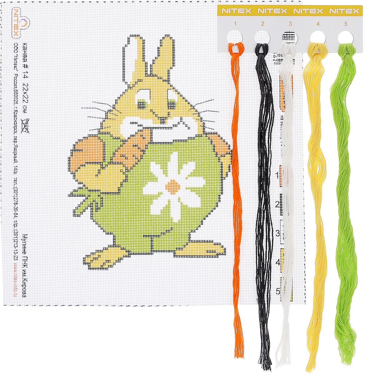 Набор для вышивания крестом Nitex Кролик, 22 см х 22 см7706996Набор для вышивания Nitex Кролик поможет вам создать свой личный шедевр - красивую картину, вышитую нитками в технике счетный крест. Работа, выполненная своими руками, станет отличным подарком для друзей и близких! Набор содержит: - канва №14 белого цвета с нанесенным рисунком (22 см х 22 см, 100% хлопок), - вышивальные нитки-мулине (5 цветов, 100% хлопок).
