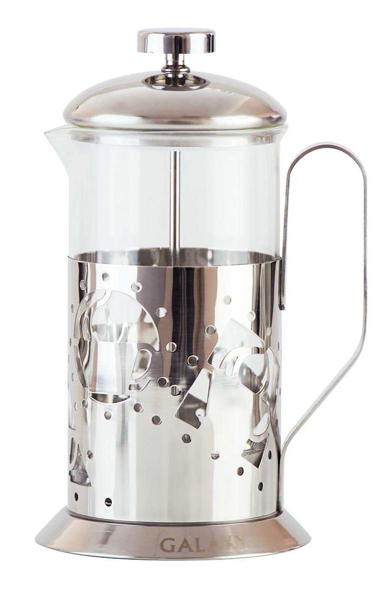 Френч-пресс Galaxy, 600 мл. GL9306гл9306Объем, л: 0,6 Стеклянная колба Фильтр из нержавеющей стали Мерная ложка в комплекте Высококачественная нержавеющая сталь