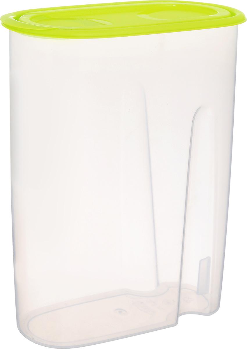 Емкость для сыпучих продуктов Idea, цвет: прозрачный, салатовый, 2,1 лМ 1222Емкость Idea выполнена из пищевого пластика и предназначена для хранения сыпучих продуктов, в том числе с ярко выраженным запахом (чай, кофе, специи). Не содержит Бисфенол A. Изделие оснащено плотно закрывающейся крышкой, благодаря которой продукты не выдыхаются и дольше остаются свежими. Овальная форма и специальные углубления помогают комфортно удерживать емкость в руке.