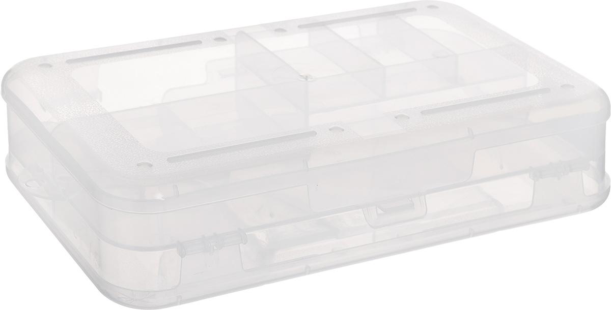 Органайзер двухсторонний Бытпласт, 22,5 х 13,5 х 5,3 смС12667Двухсторонний органайзер Бытпласт изготовлен из прочного прозрачного пластика. Органайзер двухсторонний, что позволяет хранить больше предметов. С каждый стороны содержится по 5 секций разного размера. Органайзер надежно закрывается на защелки. В нем удобно хранить рыболовные снасти, аксессуары для рукоделия и мелкие бытовые предметы. С ним ваши вещи всегда будут в порядке.
