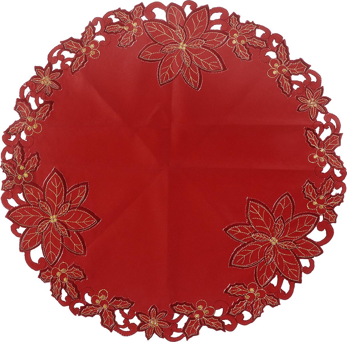 Салфетка Schaefer, круглая, цвет: красный, диаметр 60 см. 07330-350-0207330-350-02Круглая салфетка Schaefer, выполненная из полиэстера, станет изысканным украшением интерьера. Изделие декорировано изящной золотистой вышивкой в виде листьев и красивой перфорацией по краю. Изделия из искусственных волокон легко стирать: они не мнутся, не садятся и быстро сохнут, они более долговечны, чем изделия из натуральных волокон. Вы можете использовать салфетку для декорирования стола, комода, журнального столика. В любом случае она добавит в ваш дом стиля, изысканности и неповторимости и убережет мебель от царапин и потертостей.