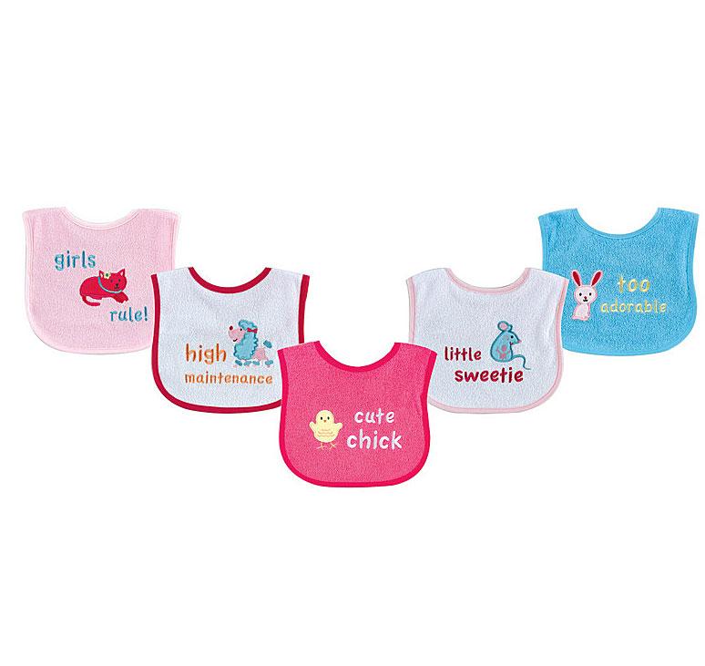 Комплект Нагрудники для девочек Luvable Friends, 5 шт, цвет: розовый. 2168. Размер 15х19 см