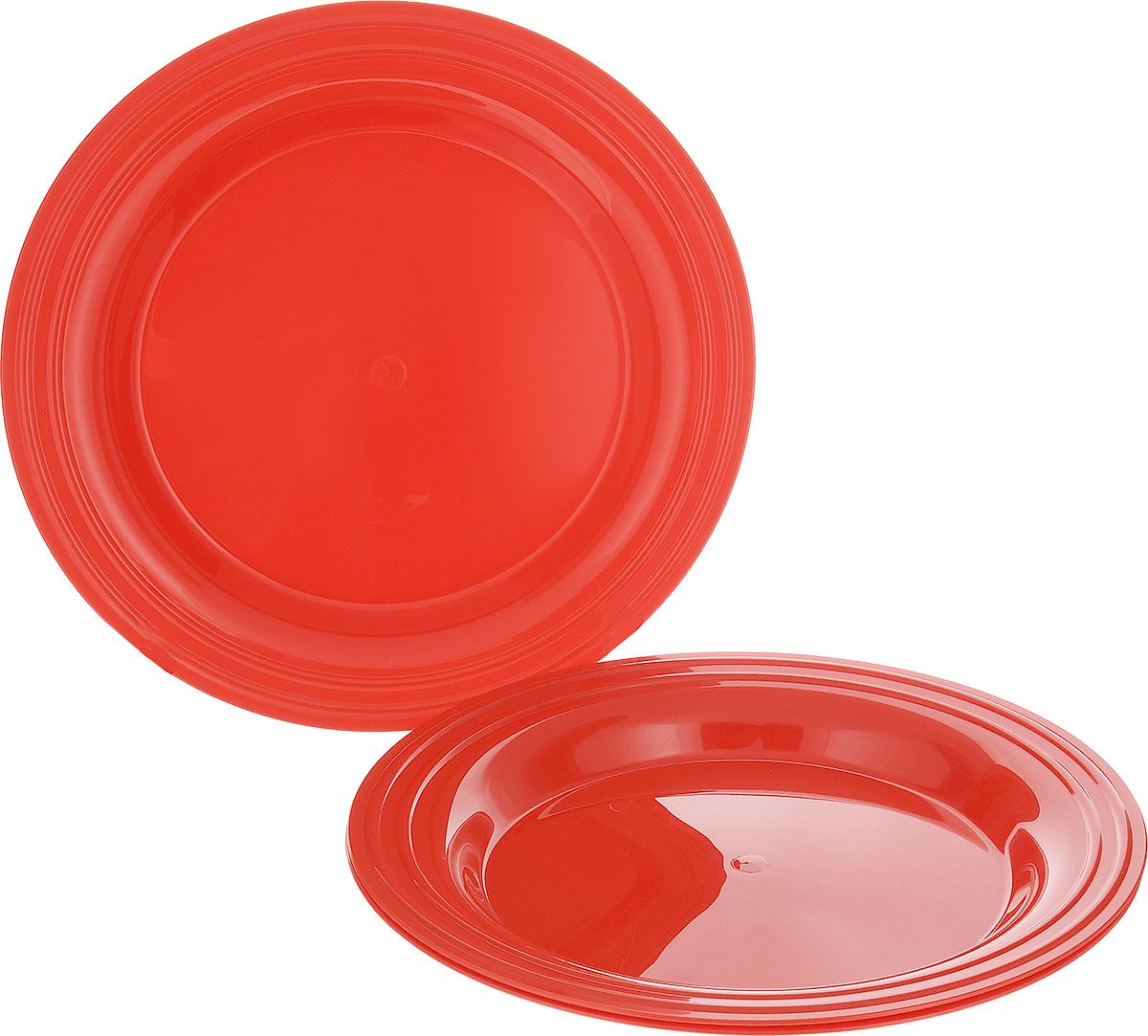 Набор тарелок Berossi Patio, цвет: красный, диаметр 25 см, 3 штИК13346000Набор тарелок Berossi Patio состоит из 3 тарелок, выполненных из высококачественного пластика. Набор отлично подойдет для вечеринок благодаря своему яркому дизайну. Тарелки Berossi Patio можно использовать дома, на даче или на пикнике. Диаметр тарелки: 25 см.