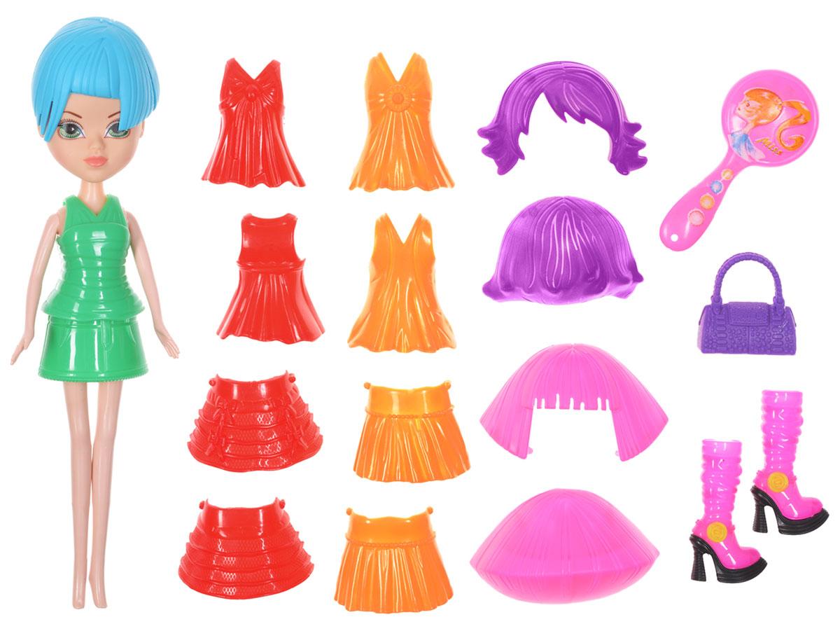 1TOY Игровой набор Красотка ФэшнТ57134Новая серия Красотка Фэшн - это оригинальные наборы кукол с одеждой и аксессуарами в стиле гламур. Кукла изготовлена из пластика, ее голова, ручки и ножки подвижны, что позволяет придавать ей разнообразные позы. Куколка одета в зеленую юбочку и кофточку. У Красотки голубая прическа, которую можно легко сменить на фиолетовый или розовый парики, которые имеются в комплекте. А еще куколка может менять наряды, когда захочет - у нее есть две кофточки и две юбочки красного и оранжевого цветов. В наборе с куколкой имеется фиолетовая сумочка, расческа и оригинальные розовые сапоги на высоких каблуках. Благодаря играм с куклой, ваша малышка сможет развить фантазию и любознательность, овладеть навыками общения и научиться ответственности, а дополнительные аксессуары сделают игру еще увлекательнее. Порадуйте свою принцессу таким прекрасным подарком!