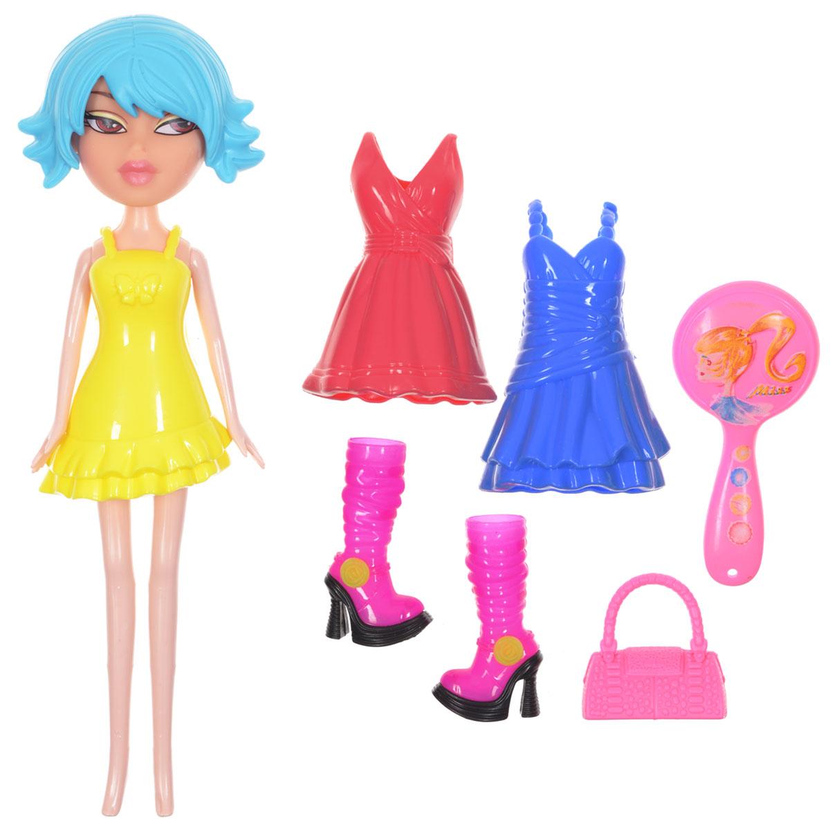 1TOY Кукла Красотка Фэшн с одеждой цвет платья желтыйТ57131Новая серия Красотка Фэшн - это оригинальные наборы кукол с одеждой и аксессуарами в стиле гламур. Кукла изготовлена из пластика, ее голова, ручки и ножки подвижны, что позволяет придавать ей разнообразные позы. Куколка одета в желтое пластиковое платье, но легко может сменить его на синее или красное. В наборе с Красоткой имеются розовая сумочка, расческа и оригинальные розовые сапоги на высоких каблуках. Благодаря играм с куклой ваша малышка сможет развить фантазию и любознательность, овладеть навыками общения и научиться ответственности, а дополнительные аксессуары сделают игру еще увлекательнее. Порадуйте свою принцессу таким прекрасным подарком!