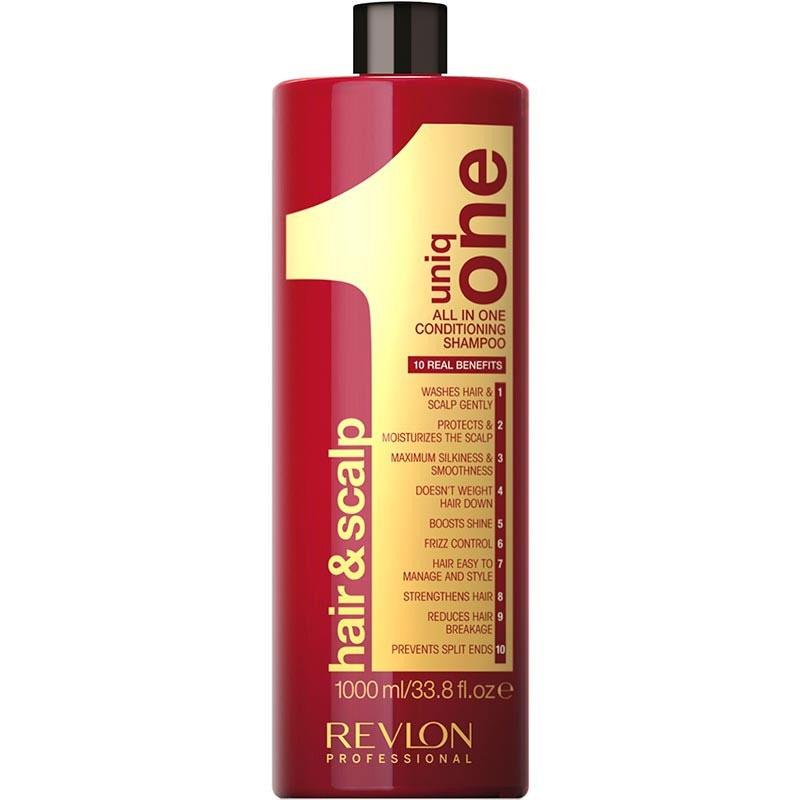 Uniq One Шампунь-кондиционер для волос 1000 мл (безсульфатный)7208747000Uniq One Conditioning Shampoo Шампунь кондиционер Уникальное средство сочетает в себе сразу 10 главных свойств, благодаря которым волосы за минимальное время станут невероятно сильными и здоровыми. Средство оказывает очищающий, увлажняющий и кондиционирующий уход не только на волосы, но и на кожу головы. При регулярном применении шампуня-кондиционера Uniq One волосы становятся невероятно мягкими и шелковистыми, приобретают великолепный здоровый блеск и восхитительное сияние. При использовании средства устраняется пушистость волос, их спутывание, облегчается расчёсывание. Позади остаётся и проблема секущихся кончиков. Волосы становятся крепкими, сильными и защищёнными от воздействия окружающей среды. Шампунь-кондиционер гарантирует получение максимального эффекта при минимальных усилиях и за короткое время. Средство не содержит сульфатов, парабенов и других вредных химических элементов.