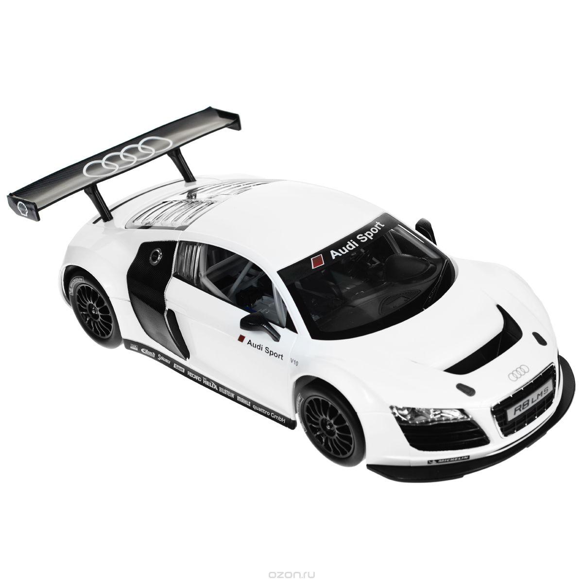 Rastar Радиоуправляемая модель Audi R8 LMS цвет белый масштаб 1:1447500Радиоуправляемая модель Audi R8 LMS со световыми эффектами, являющаяся точной копией настоящего автомобиля, - отличный подарок не только ребенку, но и взрослому. Автомобиль с литым корпусом изготовлен из современных прочных материалов и обладает высокой стабильностью движения, что позволяет полностью контролировать его процесс, управляя без суеты и страха сломать игрушку. Основные направления движения автомобиля: вперед-назад-влево-вправо. Движение вперед и назад сопровождается сигнальными световыми эффектами фар. В комплект входят автомобиль, пульт управления и инструкция на русском языке. Автомобиль работает от 5 батарей типа АА, пульт управления - от 1 батареи 9V 6F22 (не входят в комплект).