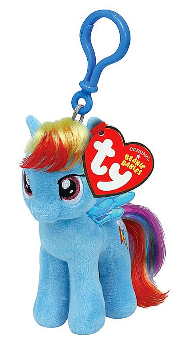 TY Мягкая игрушка-брелок Пони Rainbow Dash 10 см41105Мягкая игрушка-брелок Пони Rainbow Dash станет самым лучшим другом вашему малышу. У пони мягкая шерстка, оригинальный окрас, блестящие крылышки и огромные наклеенные глазки. С помощью пластмассового карабина брелок с пони можно пристегнуть на пояс, к рюкзаку, сумке, повесить на связку ключей. Яркое, интересное оформление игрушки притягивает взгляд! Это отличный подарок для любого ребенка!