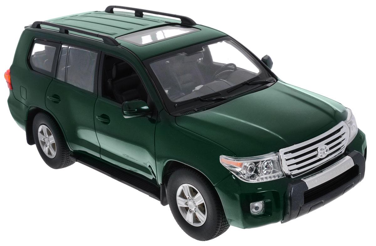 Rastar Радиоуправляемая модель Toyota Land Cruiser цвет темно-зеленый50200_темно-зеленыйРадиоуправляемая модель Rastar Toyota Land Cruiser станет отличным подарком любому мальчику! Все дети хотят иметь в наборе своих игрушек ослепительные, невероятные и крутые автомобили на радиоуправлении. Тем более, если это автомобиль известной марки с проработкой всех деталей, удивляющий приятным качеством и видом. Одной из таких моделей является автомобиль на радиоуправлении Rastar Toyota Land Cruiser. Это точная копия настоящего авто в масштабе 1:16. Авто обладает неповторимым провокационным стилем и спортивным характером. Потрясающая маневренность, динамика и покладистость - отличительные качества этой модели. Возможные движения: вперед, назад, вправо, влево, остановка. Имеются световые эффекты. Пульт управления работает на частоте 40 MHz. Для работы игрушки необходимы 5 батареек типа АА (не входят в комплект). Для работы пульта управления необходима 1 батарейка напряжением 9V типа 6F22 (не входит в комплект).