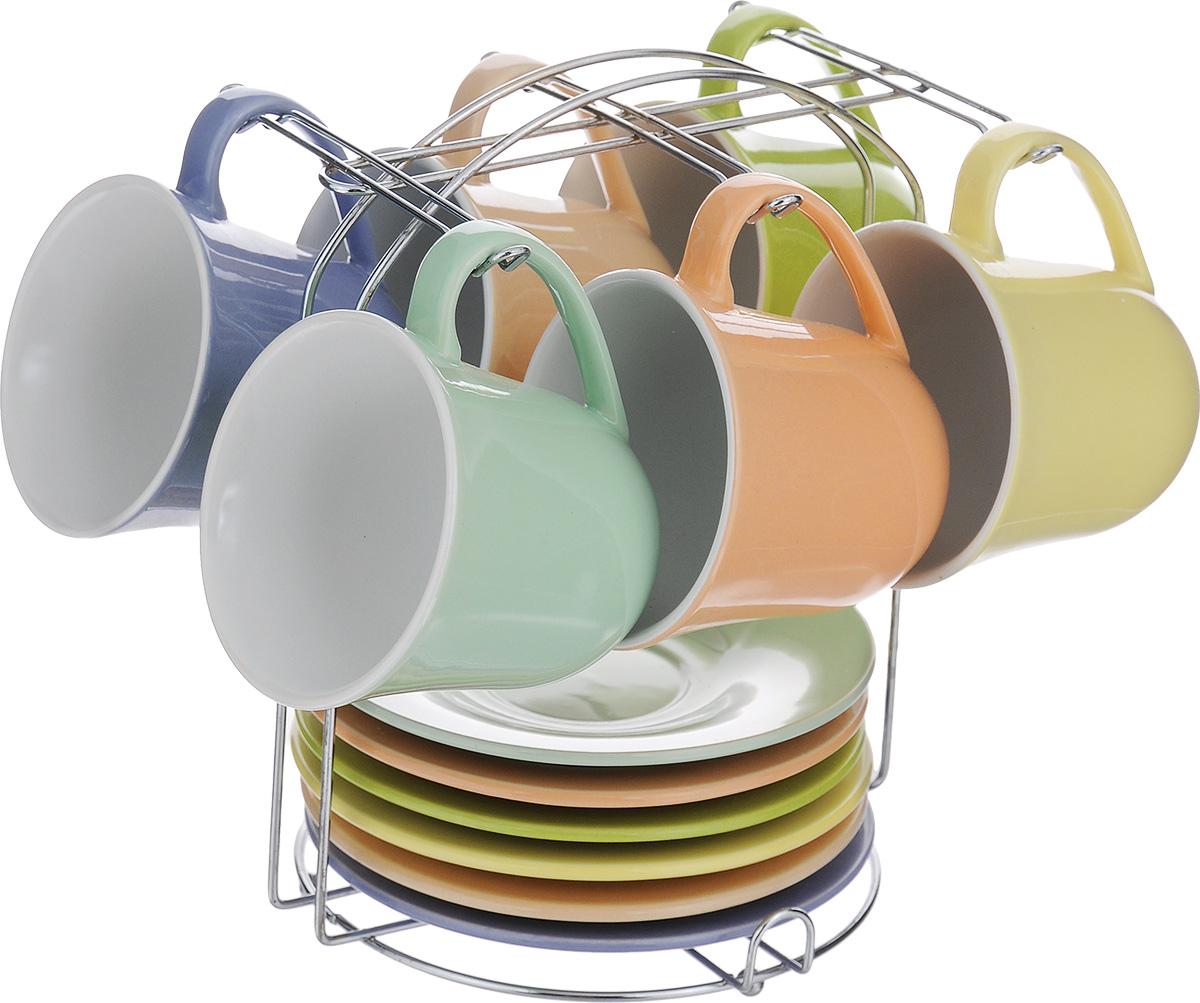 Набор чайный Loraine, на подставке, 13 предметов24864Чайный набор Loraine состоит из 6 чашек, 6 блюдец и подставки. Изделия выполнены из высококачественной керамики. Для предметов набора предусмотрена специальная металлическая подставка с крючками для чашек и подставкой для блюдец. Изящный чайный набор прекрасно оформит стол к чаепитию и станет замечательным подарком для любой хозяйки. Объем чашки: 190 мл. Диаметр чашки (по верхнему краю): 8,5 см. Высота чашки: 8 см. Диаметр блюдца: 14 см. Высота блюдца: 2 см. Размер подставки: 16,5 х 17 х 20 см.