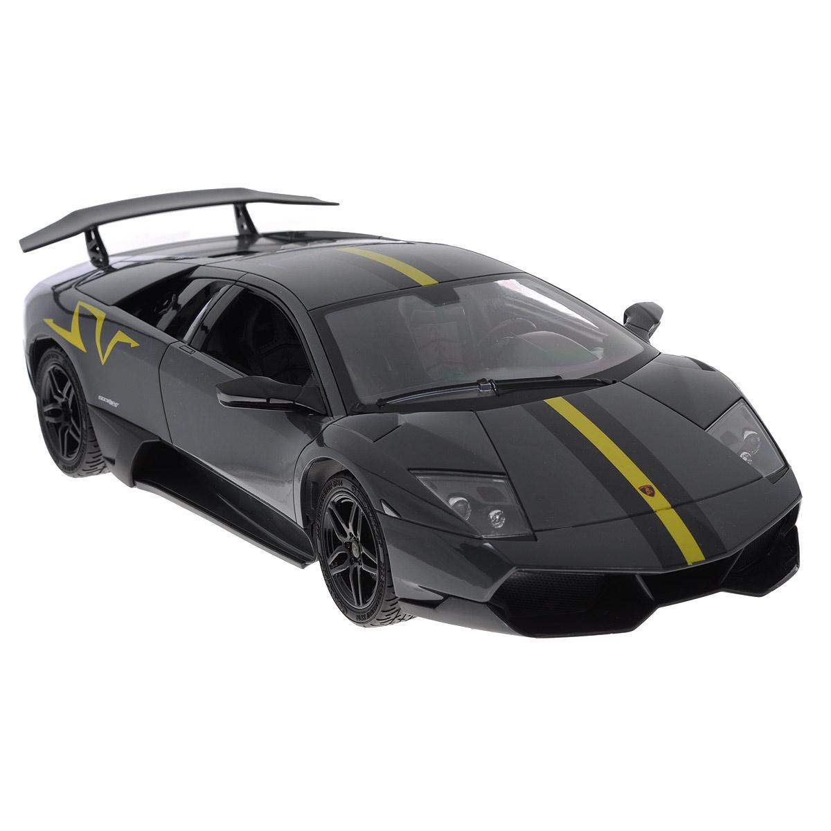 TopGear Радиоуправляемая модель Lamborghini Murcielago LP 670-4 цвет темно-серыйТ56682_серыйРадиоуправляемая модель TopGear Lamborghini Murcielago LP 670-4 привлечет внимание не только ребенка, но и взрослого и станет отличным подарком любителю гонок. Машинка является точной уменьшенной копией автомобиля в масштабе 1:14. Машинка изготовлена из прочного легкого пластика, шины выполнены из мягкой резины. Фары машины светятся. Машинка при помощи пульта управления может перемещаться вперед, дает задний ход, поворачивает влево и вправо, останавливается. В комплект входит машинка, пульт управления, блок питания, аккумулятор и 2 батарейки типа AA 1,5V Ваш ребенок часами будет играть с моделью, придумывая различные истории и устраивая соревнования. Порадуйте его таким замечательным подарком! УВАЖАЕМЫЕ КЛИЕНТЫ! Обращаем ваше внимание на тот факт, что для работы игрушки рекомендуется докупить 2 батарейки типа АА 1,5V для пульта управления (в комплект входят демонстрационные).